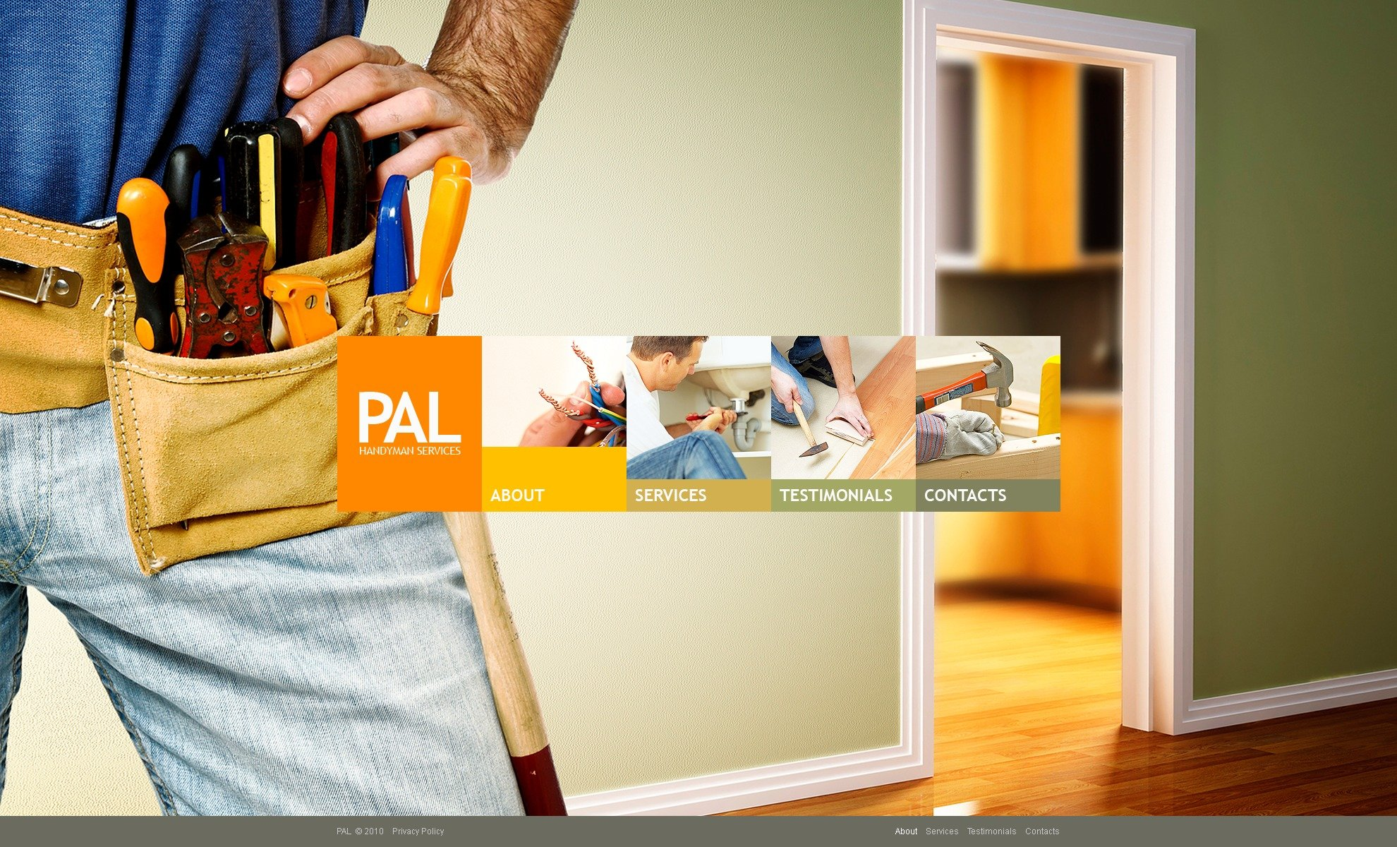 The Pal Handyman PSD Design 54357, one of the best PSD templates of its kind (most popular, wide, maintenance services, jquery), also known as pal handyman PSD template, services PSD template, home master PSD template, craftsman PSD template, skilled workman PSD template, repair PSD template, reparing PSD template, tools PSD template, paint PSD template, instruments and related with pal handyman, services, home master, craftsman, skilled workman, repair, reparing, tools, paint, instruments, etc.