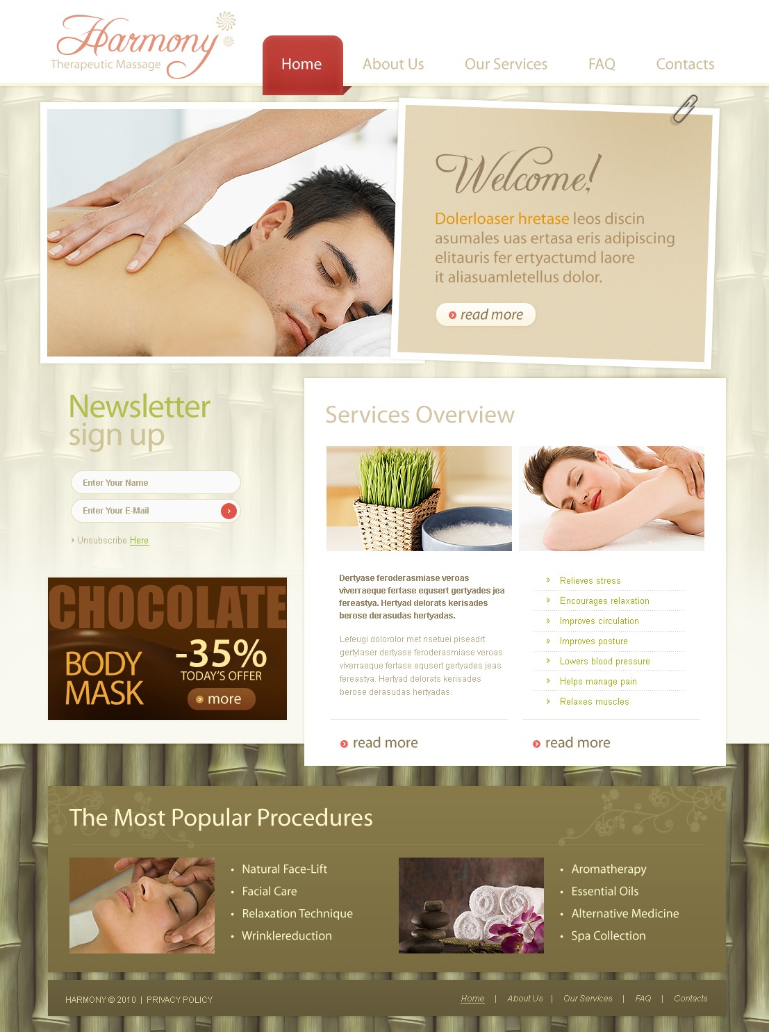 The Harmony Therapeutic PSD Design 54360, one of the best PSD templates of its kind (beauty, most popular, flash 8, wide), also known as harmony therapeutic PSD template, massage PSD template, shiatsu PSD template, therapy PSD template, masseur PSD template, body PSD template, back PSD template, neck PSD template, shoulder PSD template, pain PSD template, injury PSD template, relaxation PSD template, therapeutic PSD template, benefits PSD template, staff PSD template, price PSD template, class PSD template, find PSD template, side PSD template, effects PSD template, mind PSD template, spirit PSD template, nationally PSD template, certified PSD template, risks PSD template, services PSD template, help PSD template, professionalism PSD template, payment PSD template, way PSD template, case PSD template, difficult PSD template, fas and related with harmony therapeutic, massage, shiatsu, therapy, masseur, body, back, neck, shoulder, pain, injury, relaxation, therapeutic, benefits, staff, price, class, find, side, effects, mind, spirit, nationally, certified, risks, services, help, professionalism, payment, way, case, difficult, fas, etc.