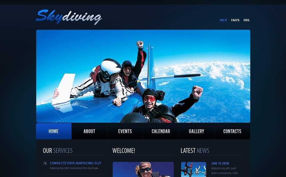 跳伞网站PSD模板 New Screenshots BIG