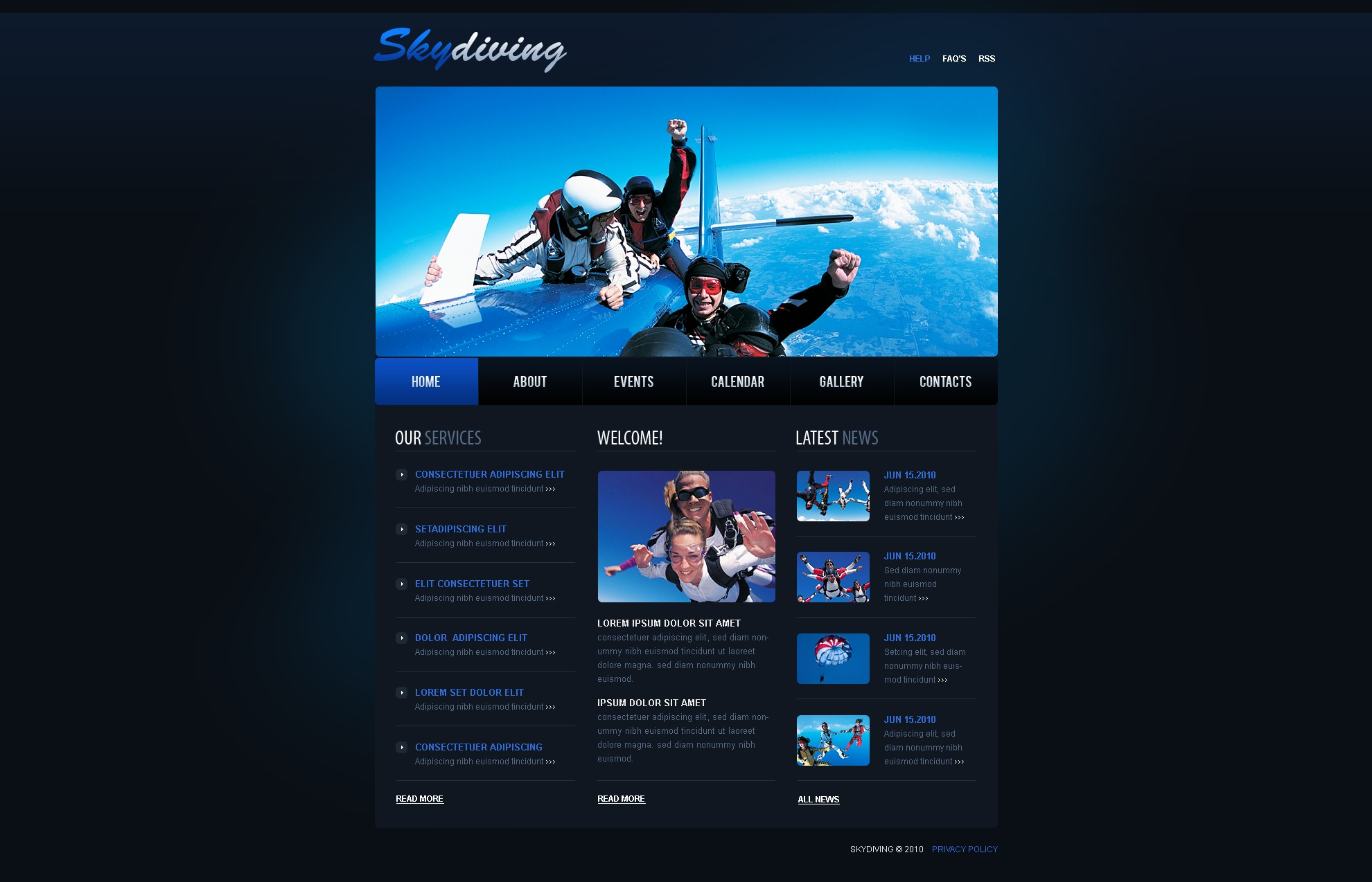 The Skydiving Sky PSD Design 54362, one of the best PSD templates of its kind (sport, flash 8, wide), also known as skydiving sky PSD template, divers PSD template, extreme PSD template, sky PSD template, plane PSD template, jump PSD template, dive club PSD template, sport PSD template, flight PSD template, parachute and related with skydiving sky, divers, extreme, sky, plane, jump, dive club, sport, flight, parachute, etc.