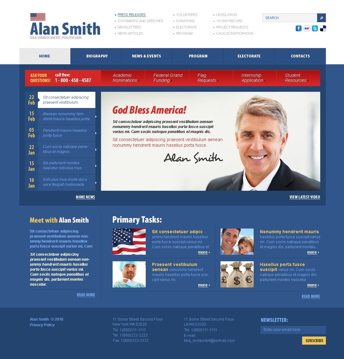 The Alan Smith Politician PSD Design 54370, one of the best PSD templates of its kind (politics, most popular, wide), also known as Alan Smith politician PSD template, political organization PSD template, leader PSD template, chairman PSD template, campaign PSD template, constitution PSD template, member PSD template, principles PSD template, information PSD template, donation PSD template, platform PSD template, flag PSD template, candidates PSD template, debates PSD template, structure PSD template, election PSD template, program PSD template, priority and related with Alan Smith politician, political organization, leader, chairman, campaign, constitution, member, principles, information, donation, platform, flag, candidates, debates, structure, election, program, priority, etc.