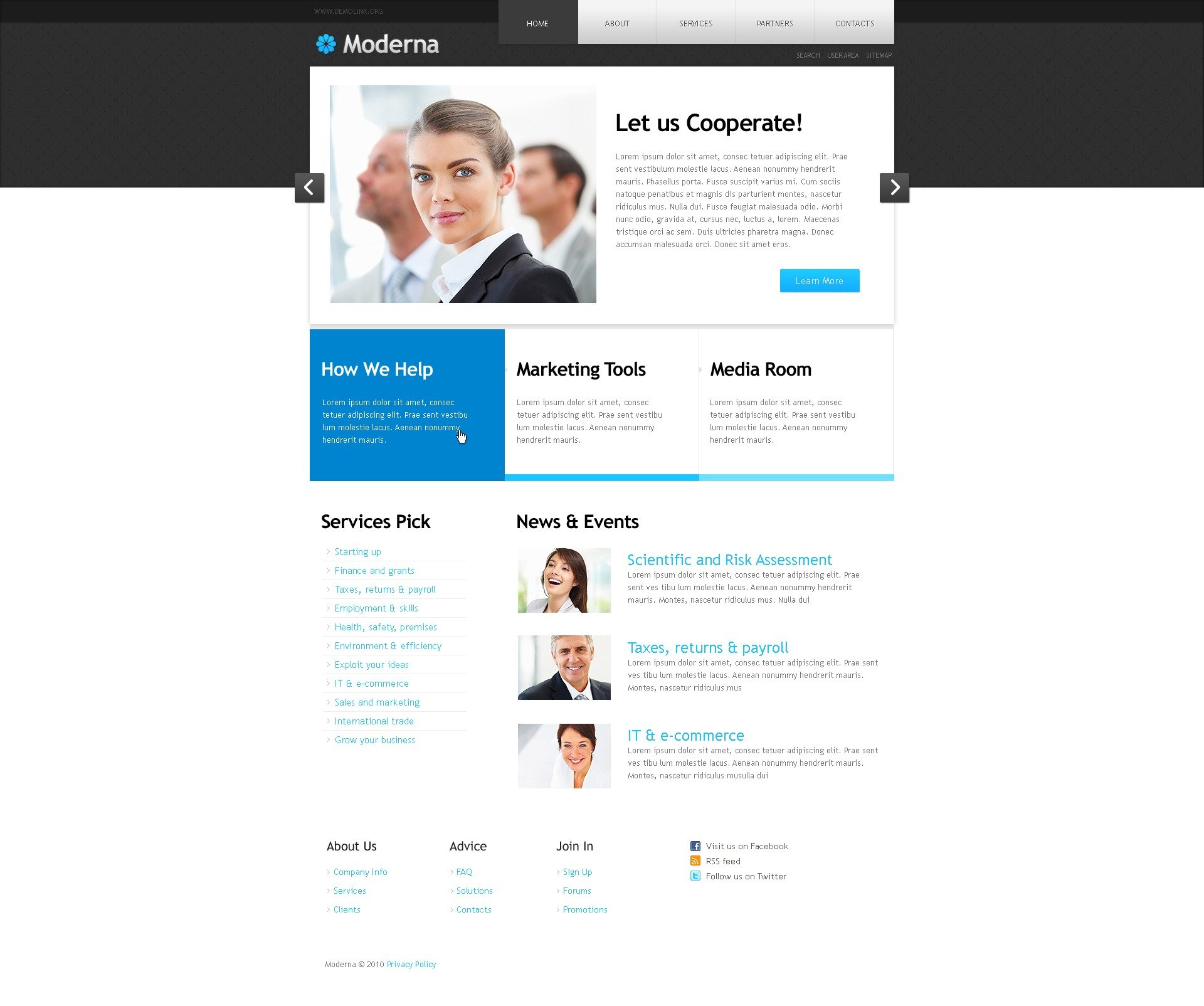 The Moderna Business Company PSD Design 54380, one of the best PSD templates of its kind (business, wide, jquery), also known as moderna business company PSD template, corporate solutions PSD template, innovations PSD template, contacts PSD template, service PSD template, support PSD template, information dealer PSD template, stocks PSD template, team PSD template, success PSD template, money PSD template, marketing PSD template, director PSD template, manager PSD template, analytics PSD template, planning PSD template, limited PSD template, office PSD template, sales and related with moderna business company, corporate solutions, innovations, contacts, service, support, information dealer, stocks, team, success, money, marketing, director, manager, analytics, planning, limited, office, sales, etc.