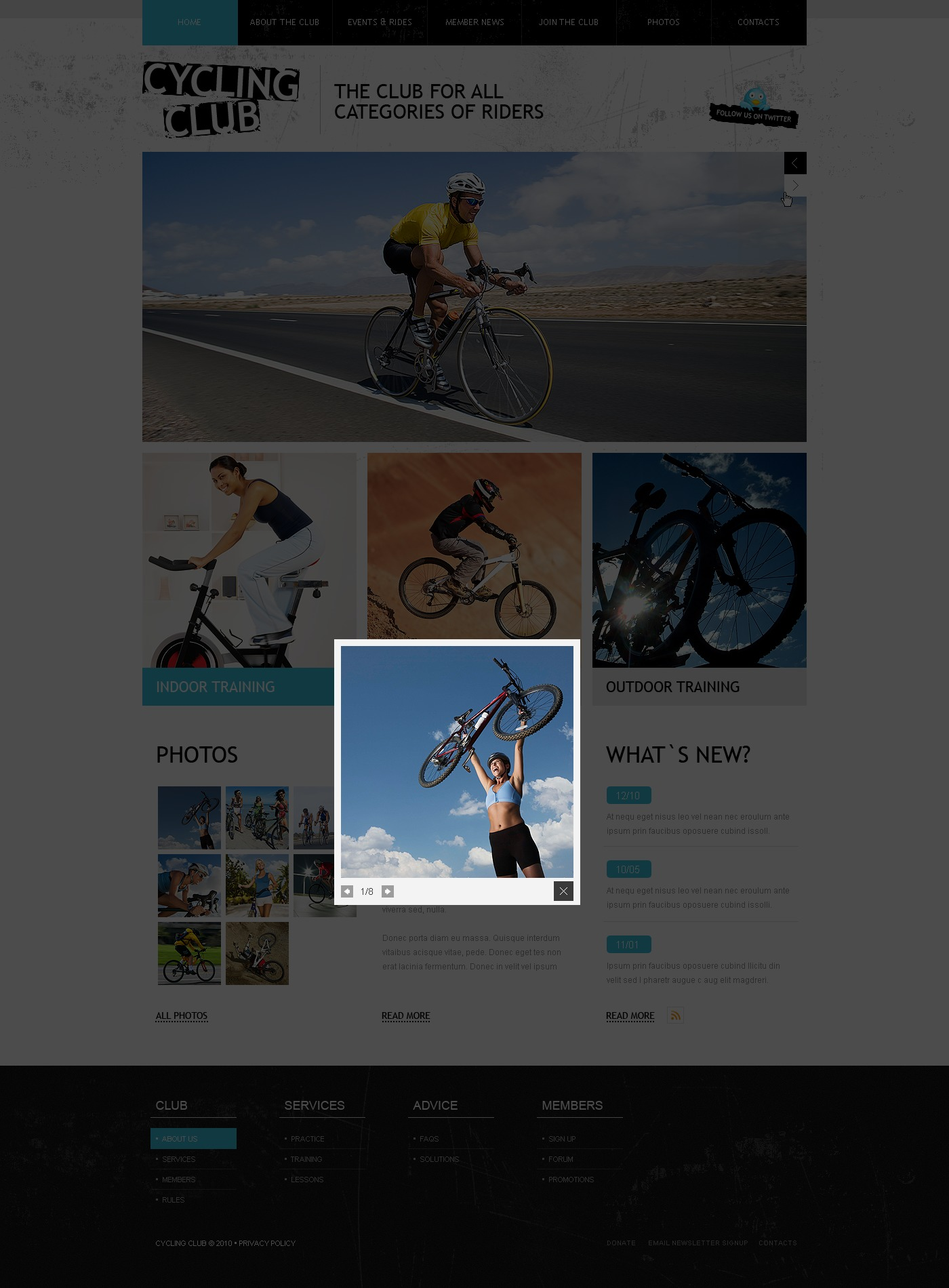 The Cycling Club PSD Design 54382, one of the best PSD templates of its kind (sport, most popular, wide, jquery), also known as cycling club PSD template, cycle PSD template, racing PSD template, bike PSD template, spor PSD template, bicycle PSD template, improvement PSD template, help PSD template, exhibition solution PSD template, market PSD template, research PSD template, vendor PSD template, motor PSD template, price PSD template, speed PSD template, driving PSD template, off-road PSD template, driver PSD template, track PSD template, race PSD template, urban PSD template, freeway PSD template, highway PSD template, road PSD template, spare PSD template, services PSD template, helmet PSD template, offers PSD template, testimonials PSD template, accessories PSD template, pedal and related with cycling club, cycle, racing, bike, spor, bicycle, improvement, help, exhibition solution, market, research, vendor, motor, price, speed, driving, off-road, driver, track, race, urban, freeway, highway, road, spare, services, helmet, offers, testimonials, accessories, pedal, etc.