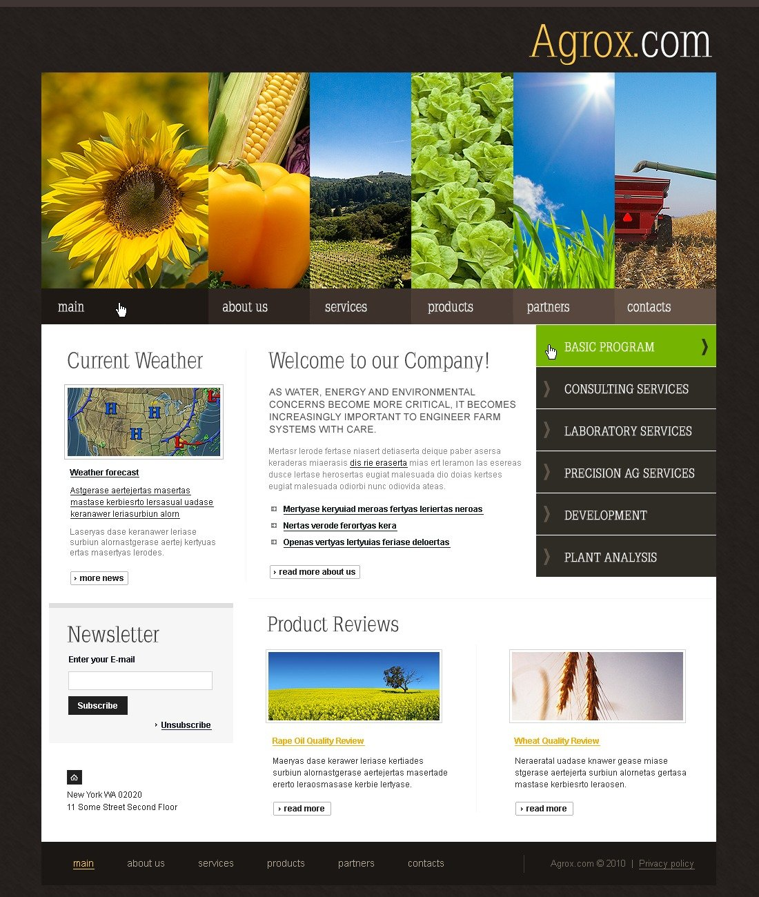 The Agrox Com PSD Design 54383, one of the best PSD templates of its kind (agriculture, wide, jquery), also known as agrox com PSD template, agriculture company PSD template, business PSD template, grain-crops PSD template, cereals PSD template, field PSD template, combine PSD template, harvest PSD template, farming PSD template, plants PSD template, services PSD template, products solutions PSD template, market PSD template, delivery PSD template, resource PSD template, grassland PSD template, equipment PSD template, nitrates PSD template, fertilizer PSD template, clients PSD template, partners PSD template, innovations PSD template, support PSD template, information dealer PSD template, stocks PSD template, tea and related with agrox com, agriculture company, business, grain-crops, cereals, field, combine, harvest, farming, plants, services, products solutions, market, delivery, resource, grassland, equipment, nitrates, fertilizer, clients, partners, innovations, support, information dealer, stocks, tea, etc.