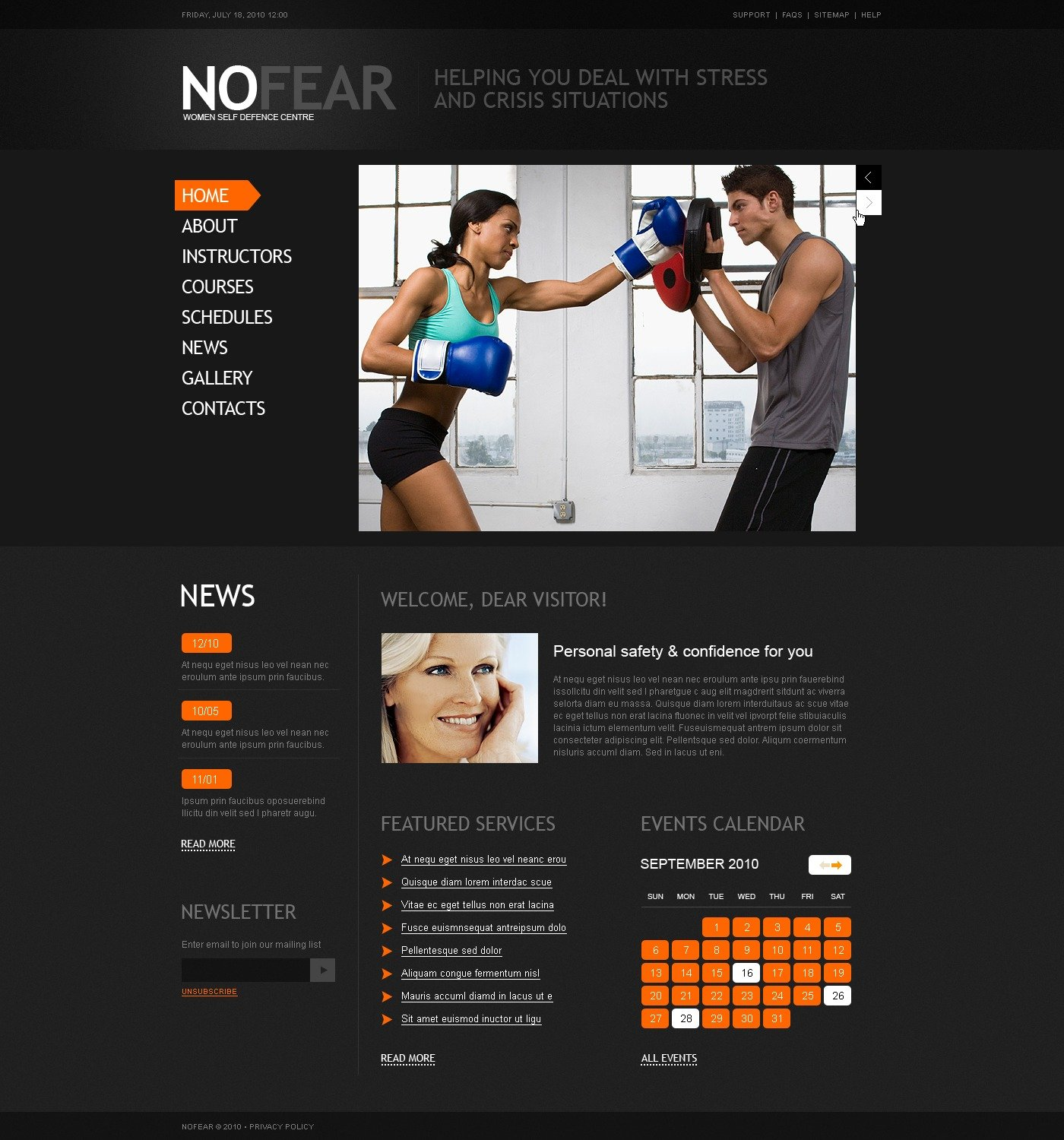 The No Fear PSD Design 54389, one of the best PSD templates of its kind (sport, wide, jquery), also known as no fear PSD template, fighting PSD template, video PSD template, tickers PSD template, photos PSD template, champions PSD template, championship PSD template, sport and related with no fear, fighting, video, tickers, photos, champions, championship, sport, etc.