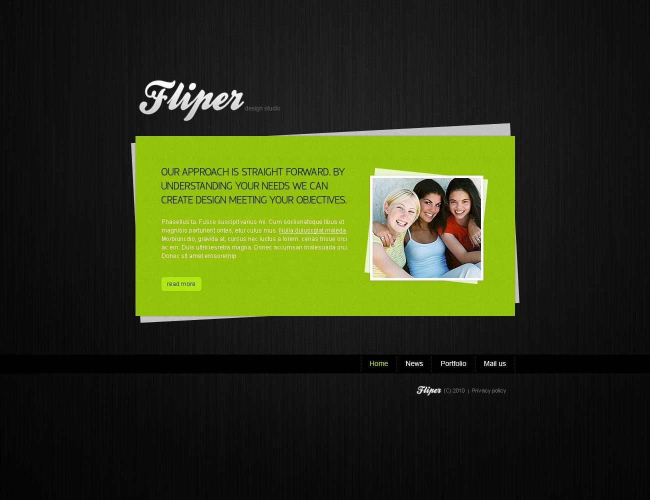 The Fliper Design Studio PSD Design 54395, one of the best PSD templates of its kind (web design, wide, jquery), also known as fliper design studio PSD template, creative art gallery PSD template, artists PSD template, painting PSD template, painters PSD template, web development PSD template, webmasters PSD template, designers PSD template, internet PSD template, www PSD template, sites PSD template, web design PSD template, webpage PSD template, personal portfolio and related with fliper design studio, creative art gallery, artists, painting, painters, web development, webmasters, designers, internet, www, sites, web design, webpage, personal portfolio, etc.
