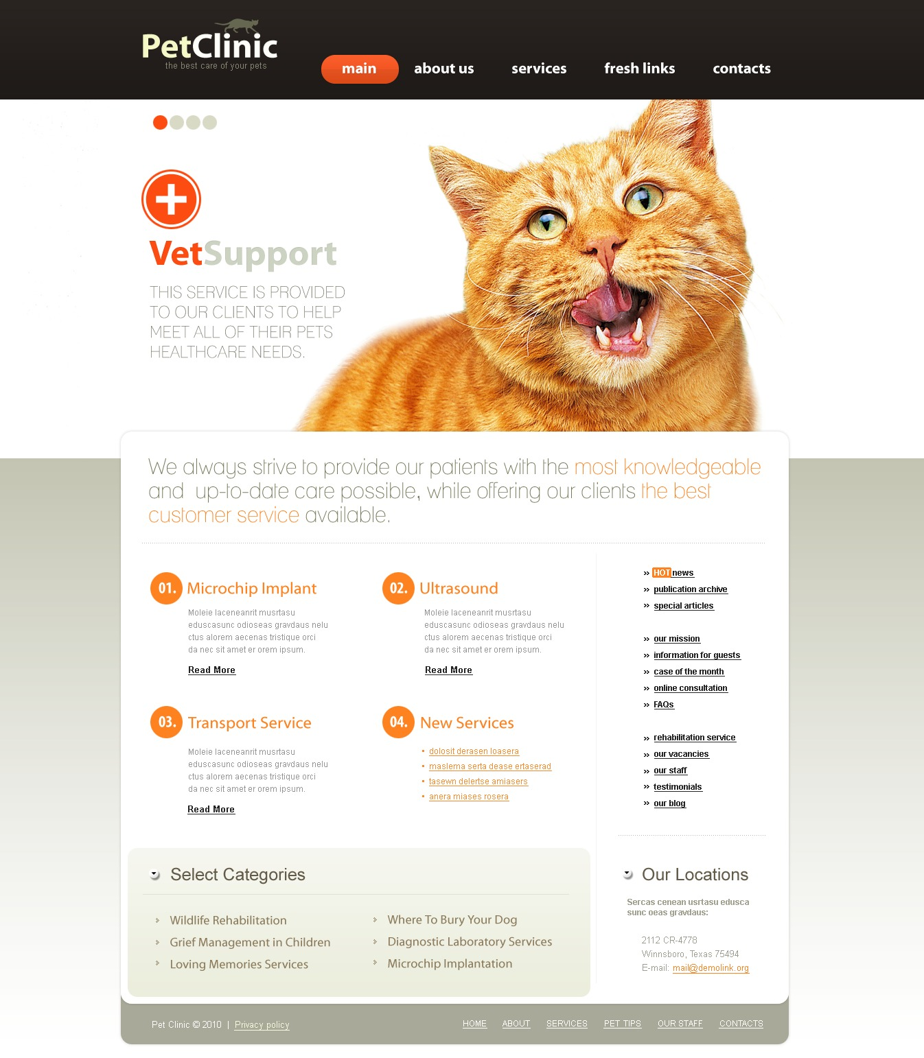 The Pet Clinic Center PSD Design 54396, one of the best PSD templates of its kind (medical, animals & pets, wide, jquery), also known as pet clinic center PSD template, veterinarian PSD template, pets PSD template, hospital care PSD template, health PSD template, cat PSD template, dog PSD template, doctors PSD template, puppy PSD template, kitten clinical PSD template, veterinary PSD template, vet PSD template, tips PSD template, feed PSD template, medicine PSD template, staff PSD template, services PSD template, breed PSD template, age PSD template, color PSD template, accommodation PSD template, adaptable PSD template, pet PSD template, apparel PSD template, bed PSD template, dishes PSD template, bowl PSD template, cleanup PSD template, collar PSD template, flea PSD template, tick PSD template, grooming PSD template, supplies and related with pet clinic center, veterinarian, pets, hospital care, health, cat, dog, doctors, puppy, kitten clinical, veterinary, vet, tips, feed, medicine, staff, services, breed, age, color, accommodation, adaptable, pet, apparel, bed, dishes, bowl, cleanup, collar, flea, tick, grooming, supplies, etc.