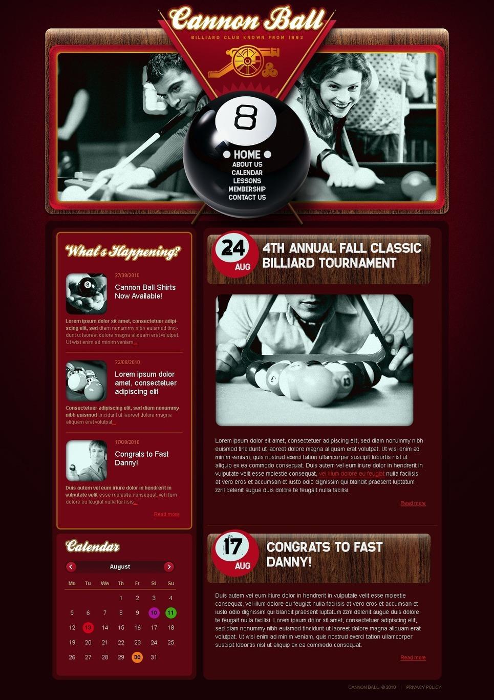 Billiards PSD Template New Screenshots BIG