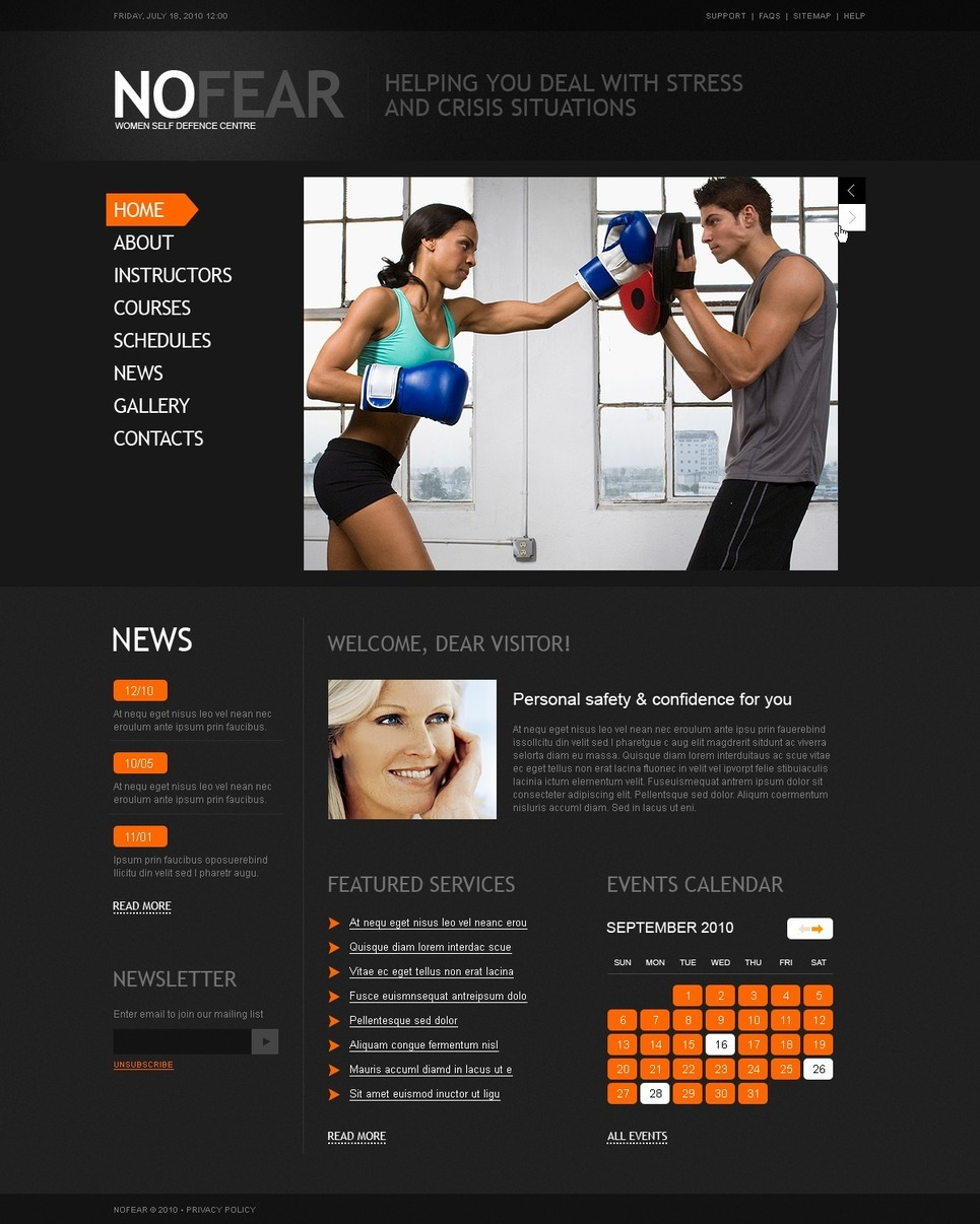 Martial Arts PSD Template New Screenshots BIG