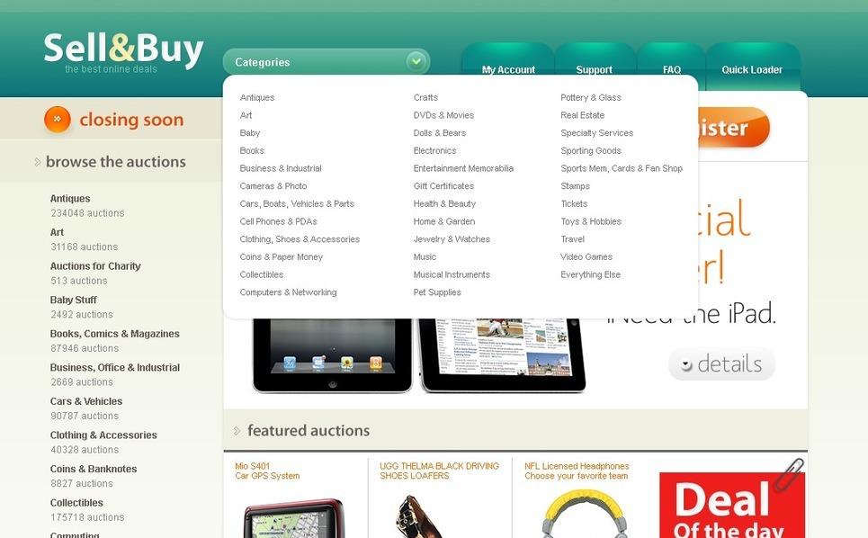 Szablon PSD #54388 na temat: aukcja New Screenshots BIG