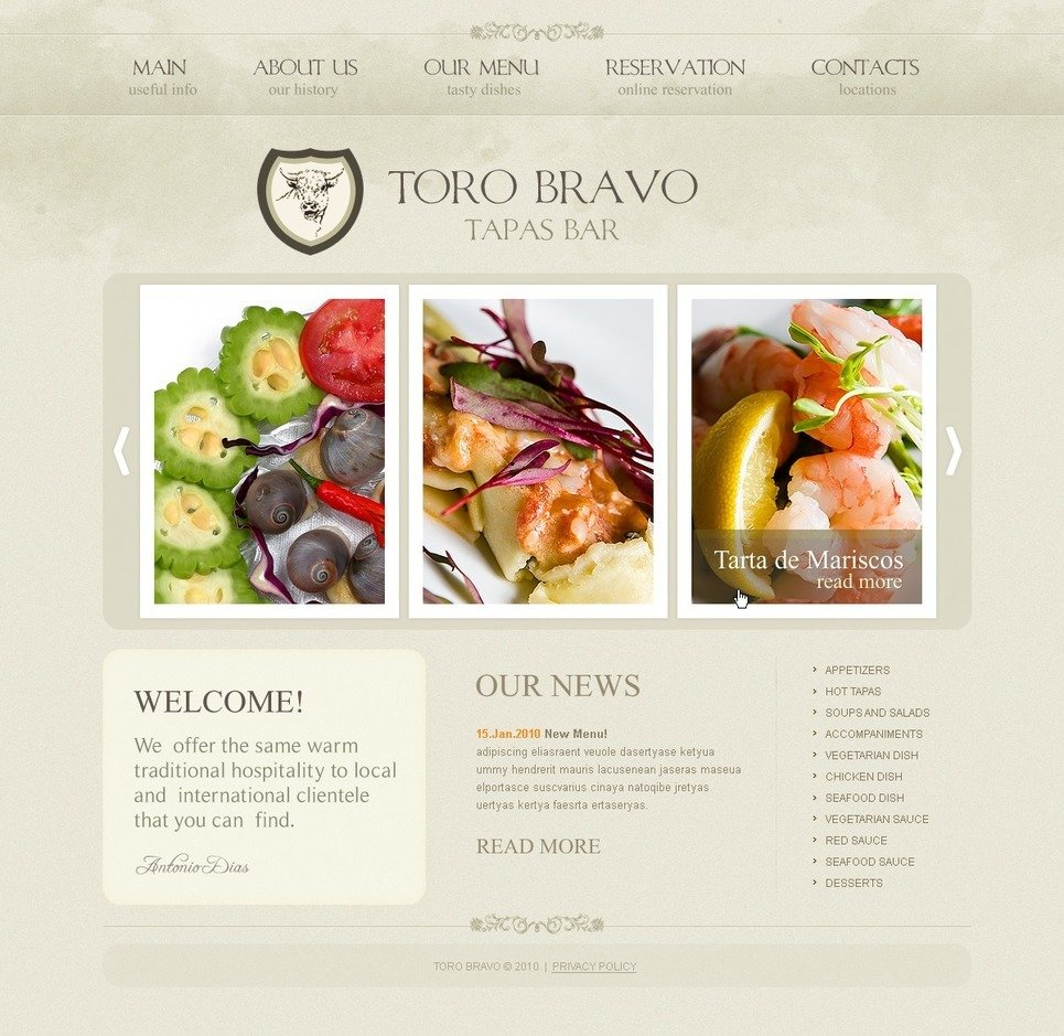 Tapas Restaurant PSD Template New Screenshots BIG