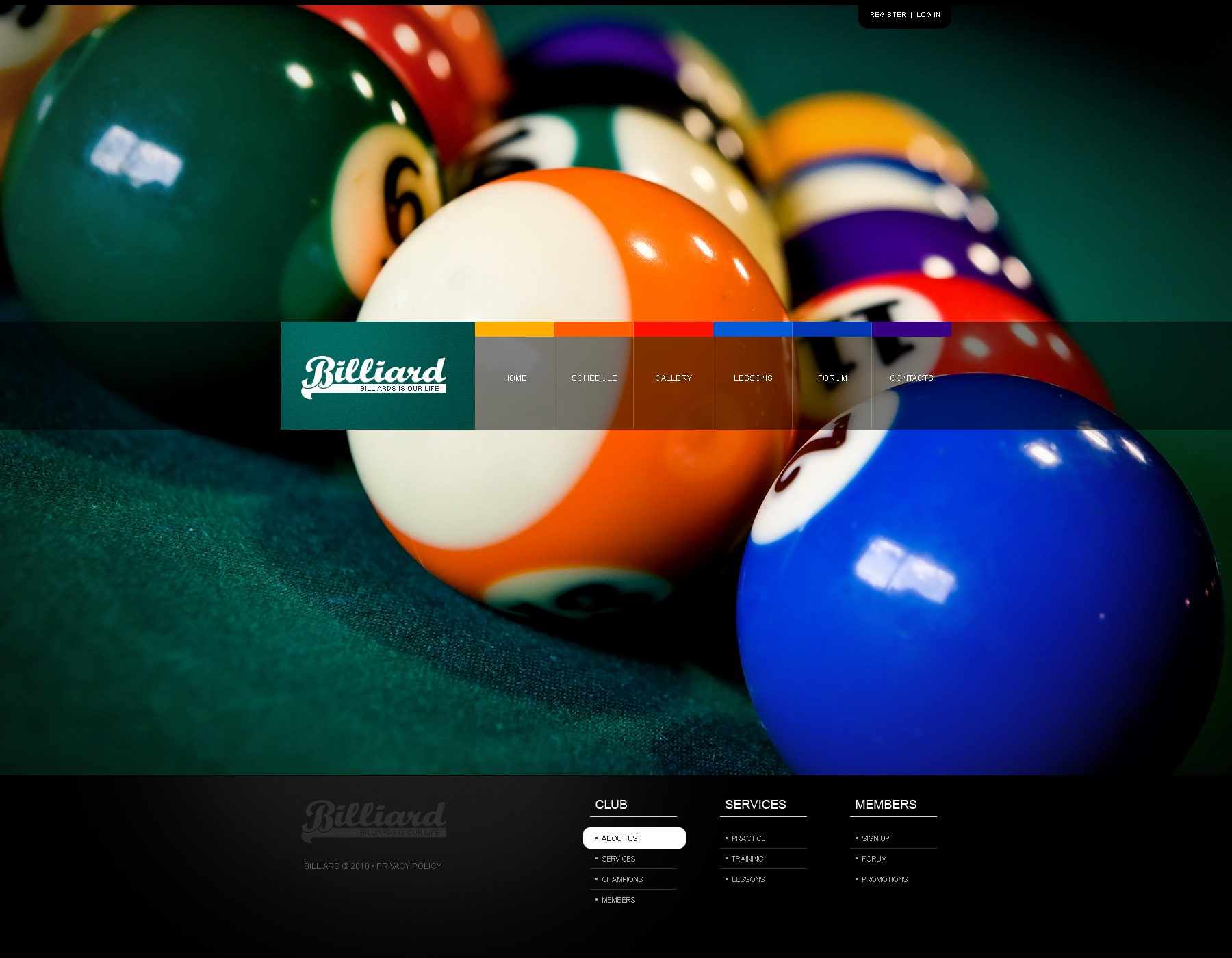 The Billiard Club PSD Design 54403, one of the best PSD templates of its kind (sport, wide), also known as billiard club PSD template, sport PSD template, entertainment PSD template, site PSD template, cup-final PSD template, champions PSD template, membership PSD template, leadership PSD template, team PSD template, ball PSD template, cue PSD template, pocket PSD template, positions PSD template, cloth PSD template, lamps PSD template, table PSD template, pool PSD template, tables PSD template, accessories PSD template, furniture PSD template, books PSD template, videos PSD template, coaching PSD template, teacher PSD template, principles and related with billiard club, sport, entertainment, site, cup-final, champions, membership, leadership, team, ball, cue, pocket, positions, cloth, lamps, table, pool, tables, accessories, furniture, books, videos, coaching, teacher, principles, etc.