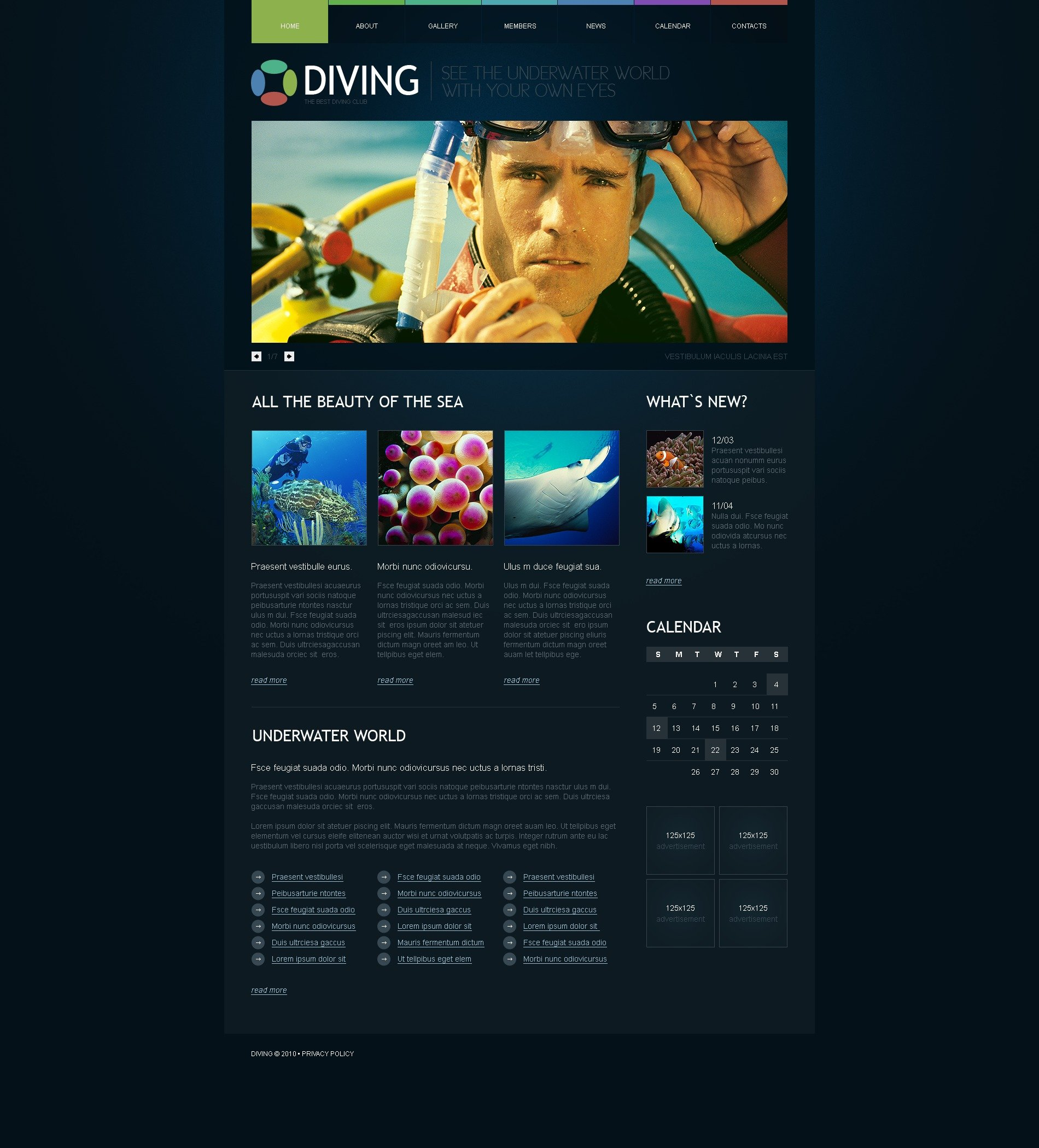 The Diving Club PSD Design 54406, one of the best PSD templates of its kind (sport, wide, jquery), also known as diving club PSD template, member PSD template, water PSD template, sea PSD template, ocean PSD template, wave PSD template, scuba-diver PSD template, aqualung PSD template, submarine PSD template, underwater PSD template, oxygen PSD template, fish PSD template, coral PSD template, flippers PSD template, mask PSD template, reef PSD template, diving-suit PSD template, photography PSD template, camera PSD template, training PSD template, services PSD template, trainer PSD template, ring-buoy PSD template, life-guard PSD template, subscription PSD template, rules PSD template, travel PSD template, equipment and related with diving club, member, water, sea, ocean, wave, scuba-diver, aqualung, submarine, underwater, oxygen, fish, coral, flippers, mask, reef, diving-suit, photography, camera, training, services, trainer, ring-buoy, life-guard, subscription, rules, travel, equipment, etc.