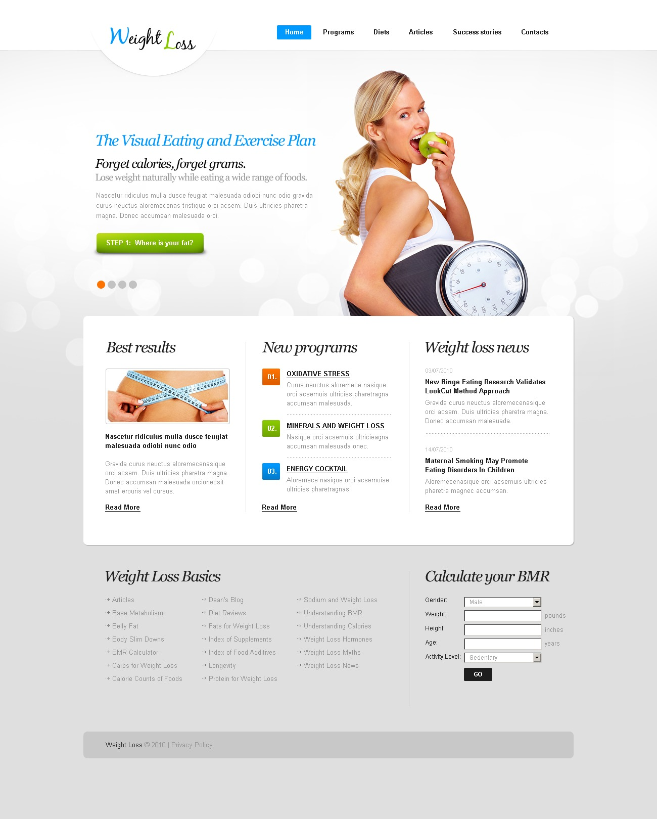 The Weight Loss PSD Design 54413, one of the best PSD templates of its kind (beauty, medical, most popular, flash 8, wide), also known as weight loss PSD template, online diet PSD template, site PSD template, invalid PSD template, food PSD template, recipe PSD template, service PSD template, planning PSD template, product PSD template, consulting PSD template, health care PSD template, medicine PSD template, doctor PSD template, patient PSD template, tablet PSD template, drug PSD template, biotechnology PSD template, protein PSD template, therapeutic PSD template, medical nutrition PSD template, prescription PSD template, vitamin PSD template, product PSD template, fruit PSD template, drink PSD template, order PSD template, energy PSD template, life PSD template, training and related with weight loss, online diet, site, invalid, food, recipe, service, planning, product, consulting, health care, medicine, doctor, patient, tablet, drug, biotechnology, protein, therapeutic, medical nutrition, prescription, vitamin, product, fruit, drink, order, energy, life, training, etc.