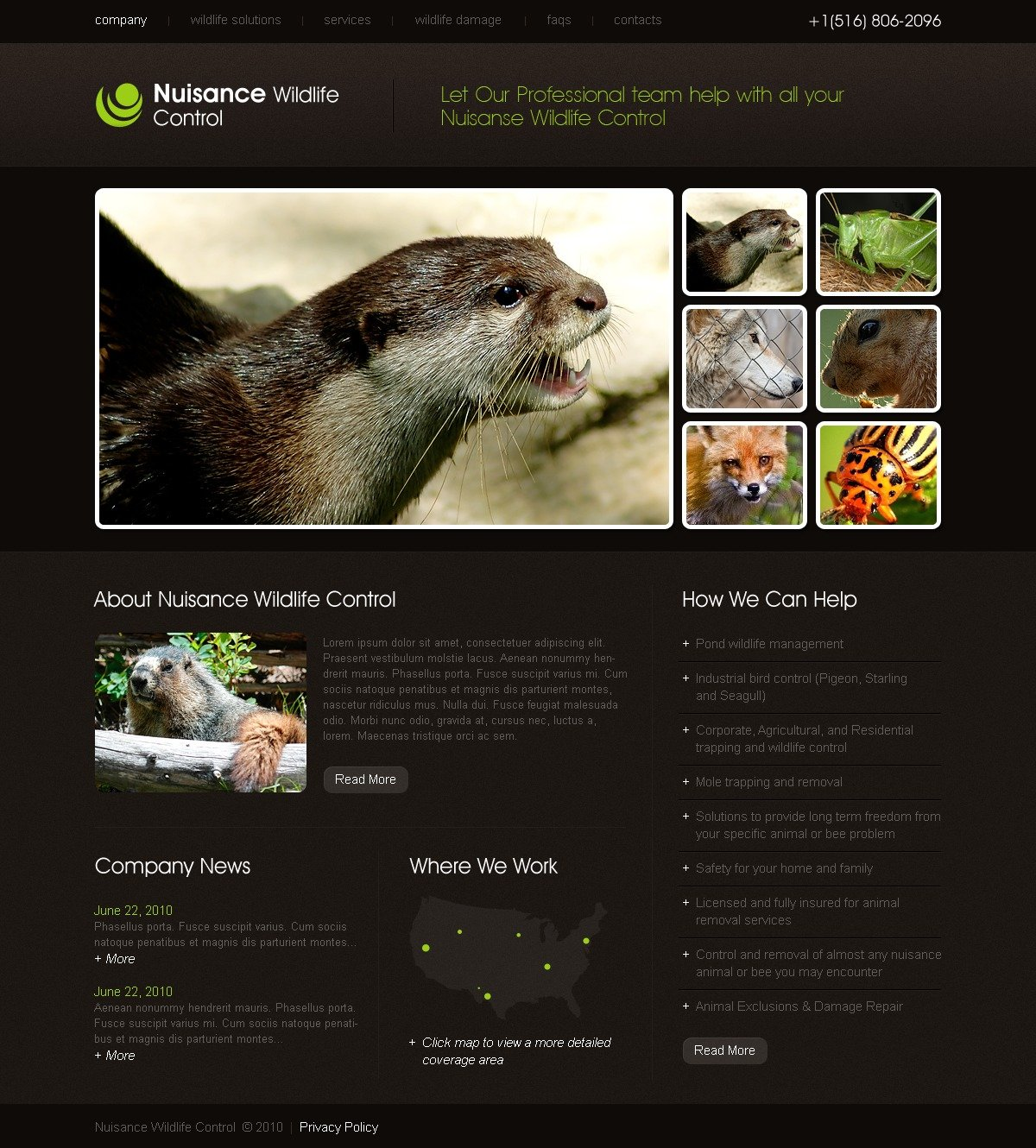 The Nuisance Wildlife PSD Design 54424, one of the best PSD templates of its kind (animals & pets, flash 8, wide), also known as nuisance wildlife PSD template, control PSD template, wild PSD template, life PSD template, animals PSD template, fund PSD template, life PSD template, nature PSD template, wildlife PSD template, photos PSD template, gallery PSD template, events PSD template, archive PSD template, links PSD template, individuality PSD template, guestbook PSD template, journal PSD template, visitors PSD template, opinion PSD template, discussion blogroll PSD template, nature PSD template, environment PSD template, ecology PSD template, roe PSD template, deer PSD template, tiger PSD template, stork PSD template, pigeon PSD template, dolphin PSD template, lion PSD template, lynx PSD template, bobcat and related with nuisance wildlife, control, wild, life, animals, fund, life, nature, wildlife, photos, gallery, events, archive, links, individuality, guestbook, journal, visitors, opinion, discussion blogroll, nature, environment, ecology, roe, deer, tiger, stork, pigeon, dolphin, lion, lynx, bobcat, etc.