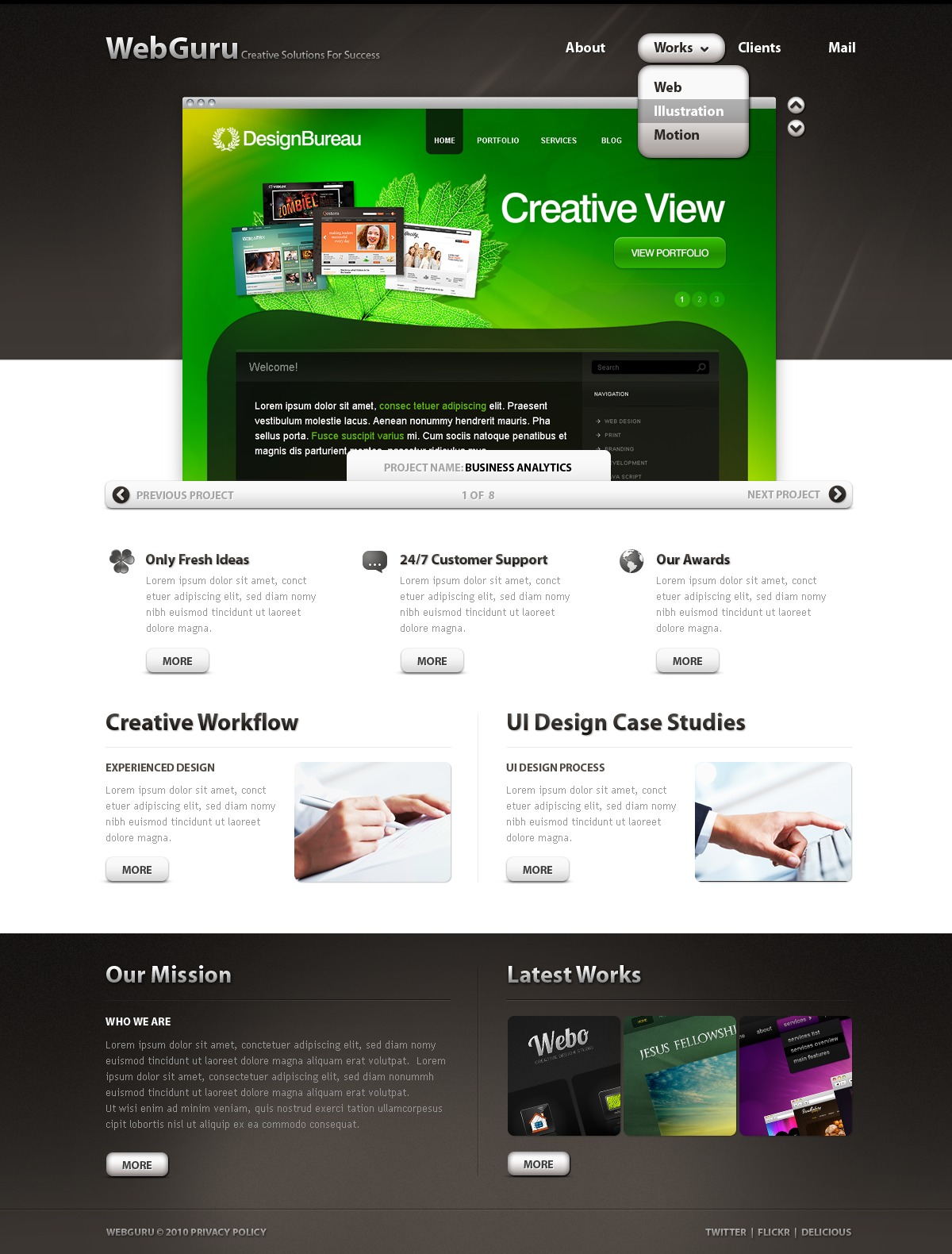 The Web Guru Design Studio PSD Design 54425, one of the best PSD templates of its kind (web design, wide, jquery), also known as web guru design studio PSD template, creative art gallery PSD template, artists PSD template, painting PSD template, painters PSD template, web development PSD template, webmasters PSD template, designers PSD template, internet PSD template, www PSD template, sites PSD template, web design PSD template, webpage PSD template, personal portfolio and related with web guru design studio, creative art gallery, artists, painting, painters, web development, webmasters, designers, internet, www, sites, web design, webpage, personal portfolio, etc.
