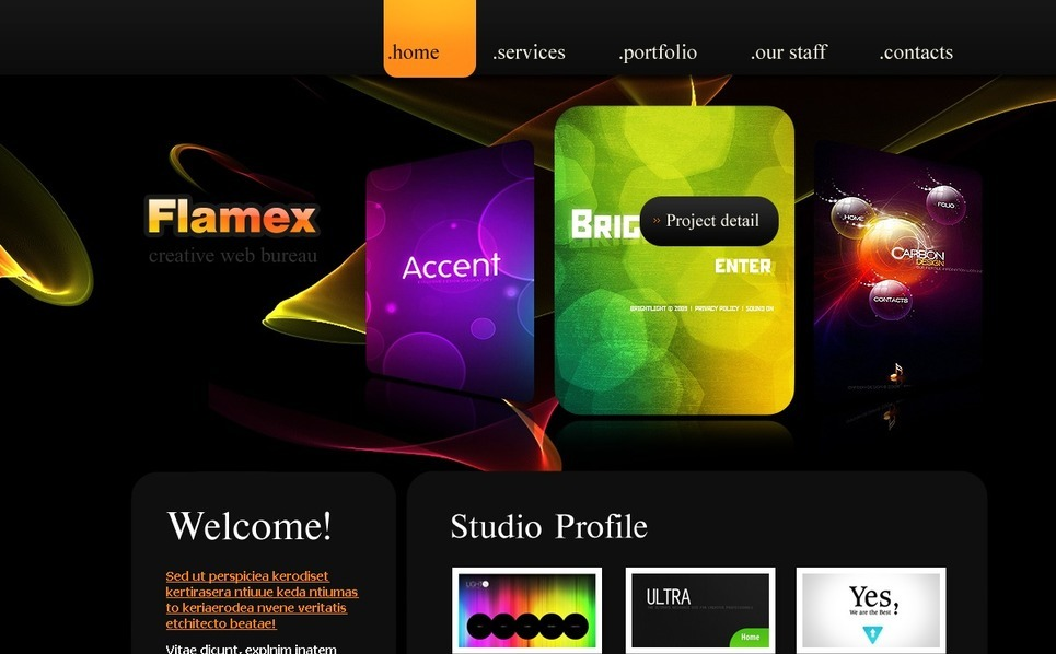 Plantilla PSD #54426 para Sitio de Estudio de diseño New Screenshots BIG