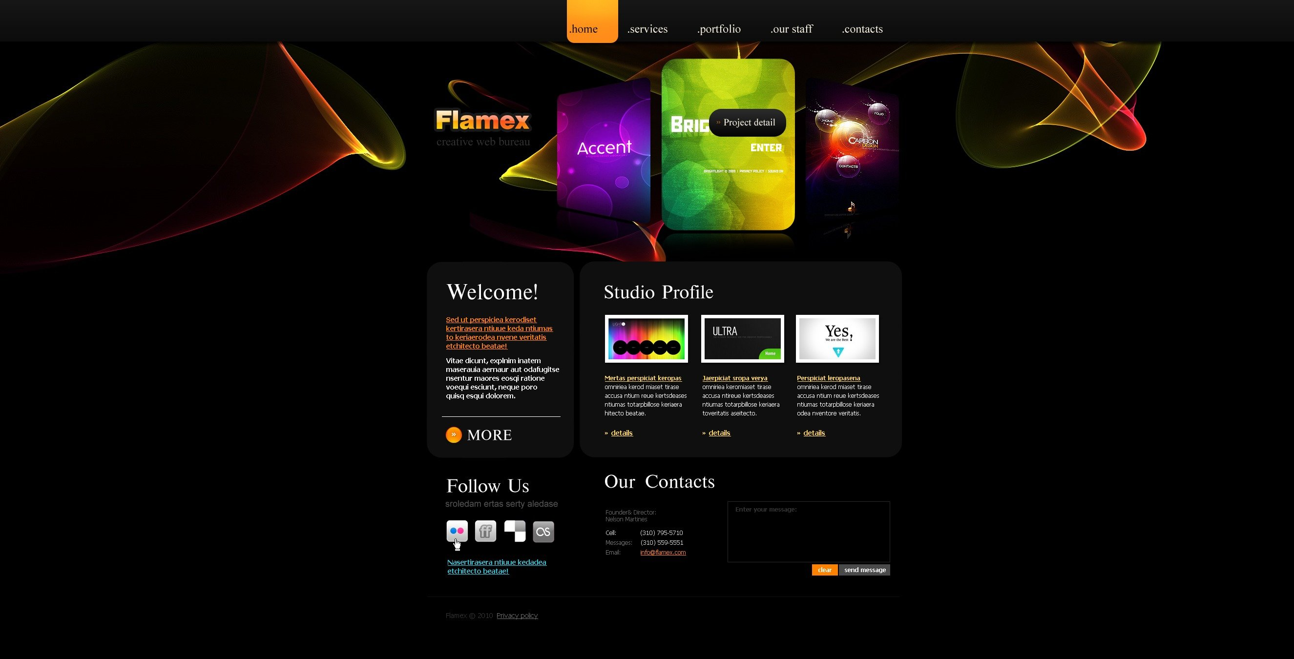 The Flamex Design Studio PSD Design 54426, one of the best PSD templates of its kind (web design, flash 8, wide), also known as flamex design studio PSD template, creative art gallery PSD template, artists PSD template, painting PSD template, painters PSD template, web development PSD template, webmasters PSD template, designers PSD template, internet PSD template, www PSD template, sites PSD template, web design PSD template, webpage PSD template, personal portfolio and related with flamex design studio, creative art gallery, artists, painting, painters, web development, webmasters, designers, internet, www, sites, web design, webpage, personal portfolio, etc.