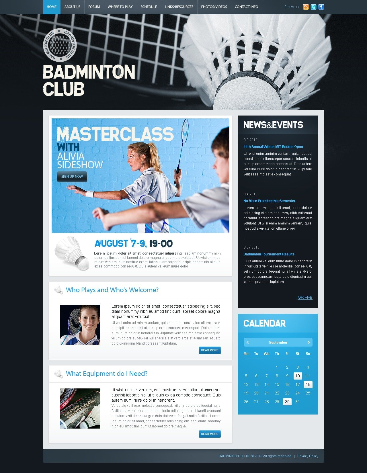 The Badminton Club Sport PSD Design 54436, one of the best PSD templates of its kind (sport, wide), also known as Badminton club sport PSD template, fan PSD template, team PSD template, game PSD template, results PSD template, coach PSD template, entertainment PSD template, joy PSD template, events school PSD template, teaching PSD template, training PSD template, programs PSD template, instructors PSD template, trainers PSD template, membership and related with Badminton club sport, fan, team, game, results, coach, entertainment, joy, events school, teaching, training, programs, instructors, trainers, membership, etc.