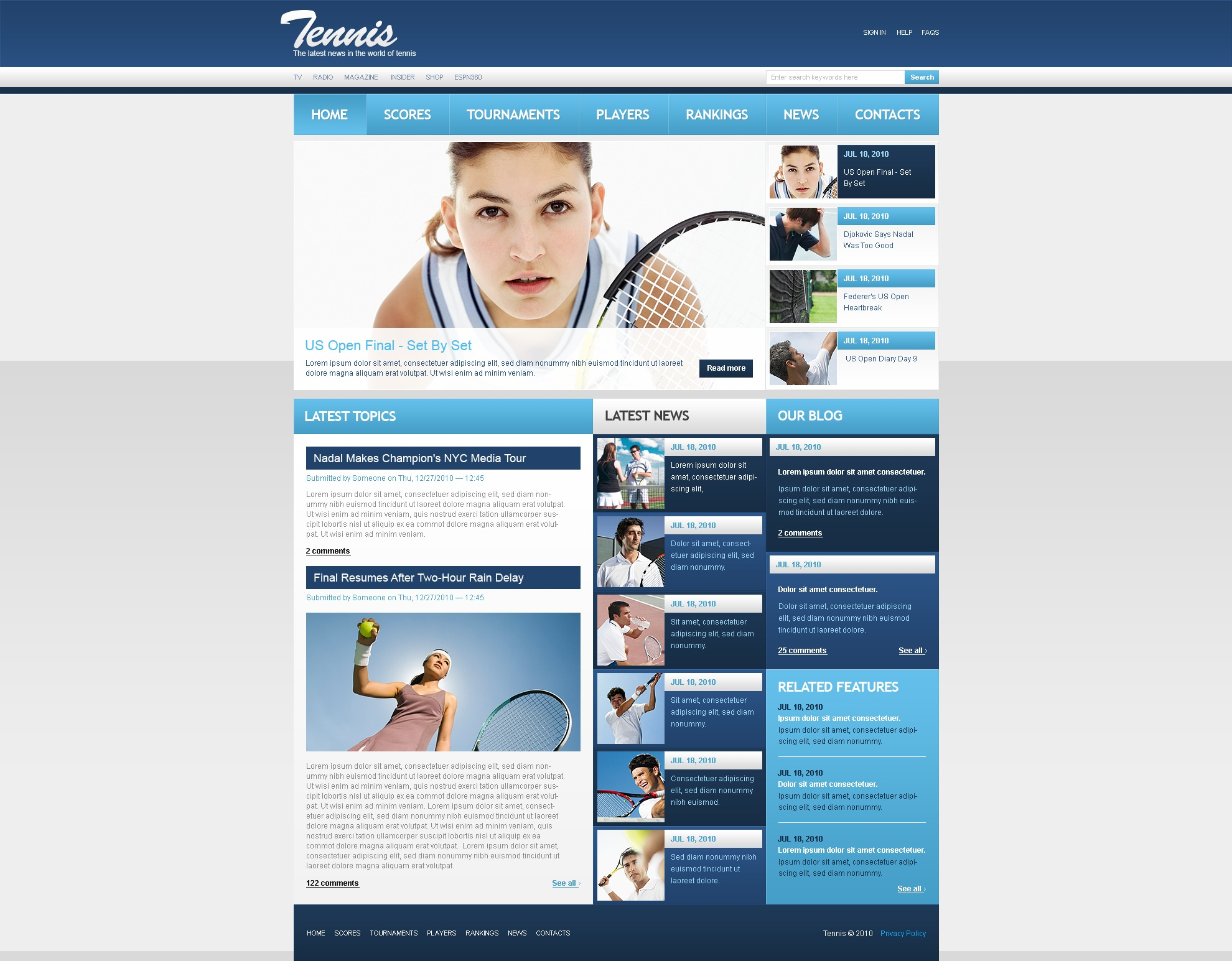 The Tennis Online News PSD Design 54447, one of the best PSD templates of its kind (sport, wide, jquery), also known as tennis online news PSD template, sport PSD template, championship PSD template, tournament PSD template, training PSD template, league PSD template, ball PSD template, schedule PSD template, statistic PSD template, media PSD template, ticket PSD template, interview PSD template, game PSD template, leadership PSD template, team PSD template, experience PSD template, instructor PSD template, battledore PSD template, shuttlecock PSD template, court PSD template, rocket PSD template, open PSD template, sery PSD template, Devis Cup Wimbledon equipment and related with tennis online news, sport, championship, tournament, training, league, ball, schedule, statistic, media, ticket, interview, game, leadership, team, experience, instructor, battledore, shuttlecock, court, rocket, open, sery, Devis Cup Wimbledon equipment, etc.