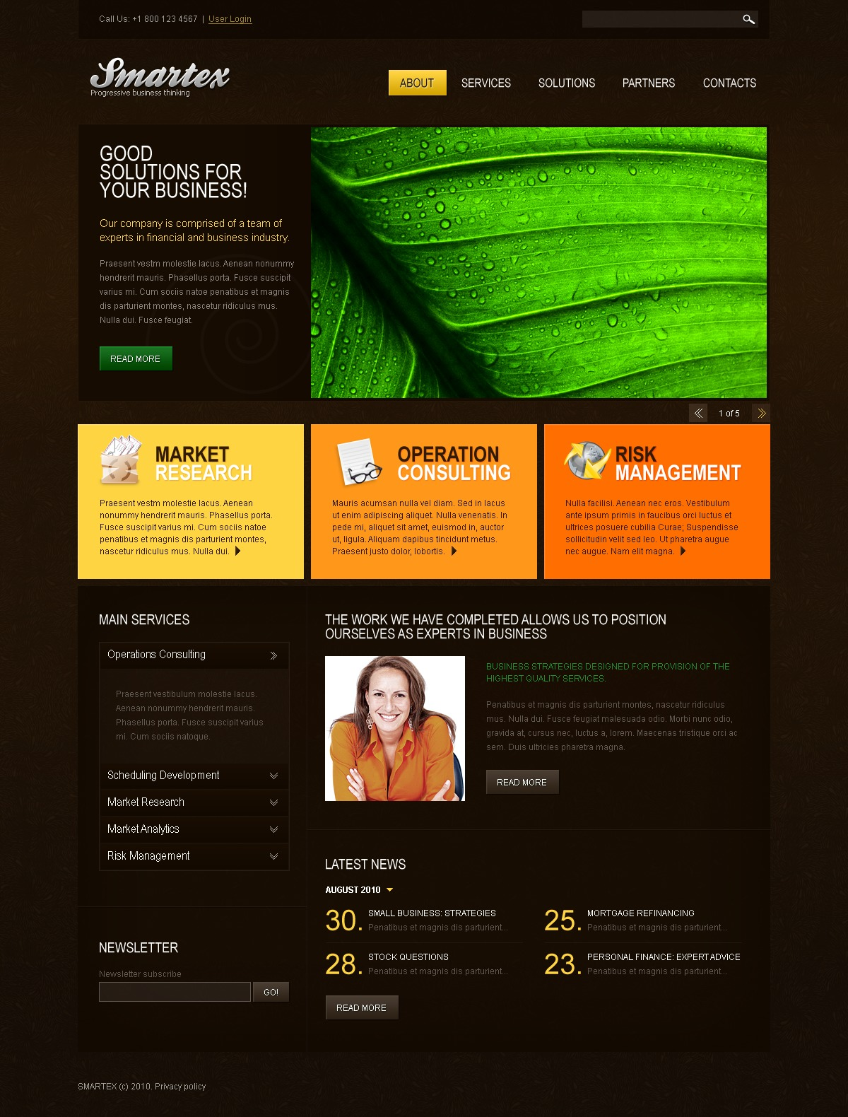 The Smartex Business Company PSD Design 54449, one of the best PSD templates of its kind (business, wide, jquery), also known as smartex business company PSD template, corporate solutions PSD template, innovations PSD template, contacts PSD template, service PSD template, support PSD template, information dealer PSD template, stocks PSD template, team PSD template, success PSD template, money PSD template, marketing PSD template, director PSD template, manager PSD template, analytics PSD template, planning PSD template, limited PSD template, office PSD template, sales and related with smartex business company, corporate solutions, innovations, contacts, service, support, information dealer, stocks, team, success, money, marketing, director, manager, analytics, planning, limited, office, sales, etc.