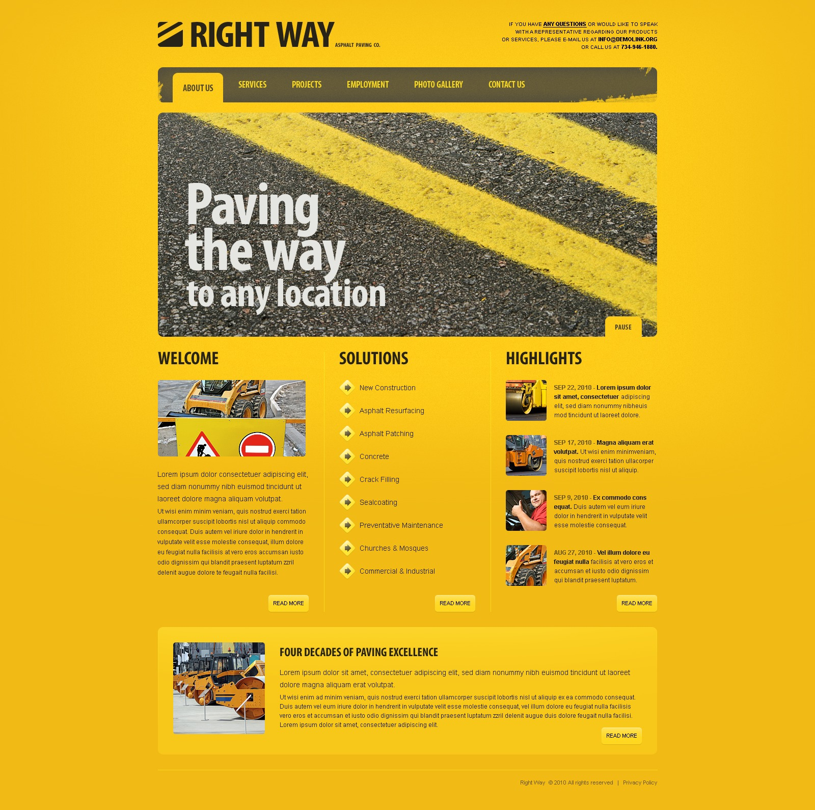 The Right Way PSD Design 54463, one of the best PSD templates of its kind (industrial, most popular, flash 8, wide), also known as right way PSD template, asphalt PSD template, paving PSD template, business PSD template, road PSD template, highway PSD template, pave PSD template, contractor PSD template, bitumen PSD template, services PSD template, projects PSD template, employment PSD template, way and related with right way, asphalt, paving, business, road, highway, pave, contractor, bitumen, services, projects, employment, way, etc.
