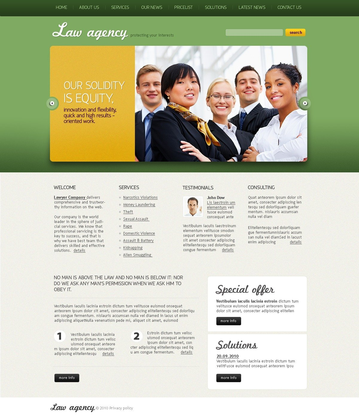 The Law Agency PSD Design 54467, one of the best PSD templates of its kind (law, wide, jquery), also known as law agency PSD template, lawyers bureau PSD template, private constitution PSD template, rules PSD template, case PSD template, business PSD template, affair PSD template, practice PSD template, experience PSD template, membership PSD template, work PSD template, articles PSD template, responsibility PSD template, biography PSD template, tips PSD template, testimonials PSD template, client PSD template, clients PSD template, partners PSD template, services PSD template, specials PSD template, help PSD template, support PSD template, advocacy PSD template, maintenance PSD template, pr and related with law agency, lawyers bureau, private constitution, rules, case, business, affair, practice, experience, membership, work, articles, responsibility, biography, tips, testimonials, client, clients, partners, services, specials, help, support, advocacy, maintenance, pr, etc.