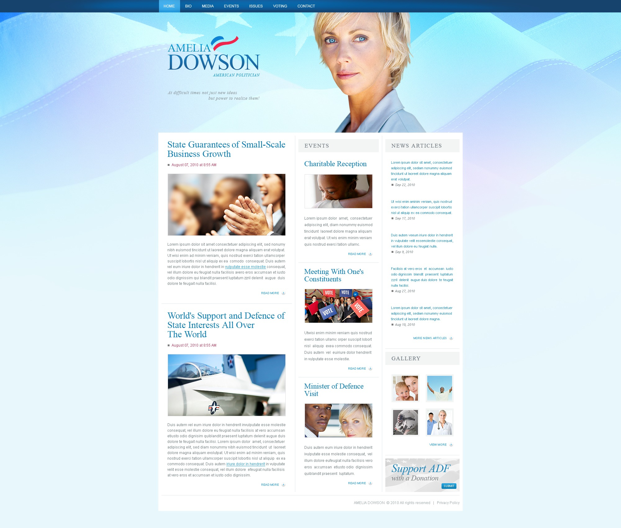 The Amelia Dowson Politician PSD Design 54471, one of the best PSD templates of its kind (politics, most popular, flash 8, wide), also known as Amelia Dowson politician PSD template, political organization PSD template, leader PSD template, chairman PSD template, campaign PSD template, constitution PSD template, member PSD template, principles PSD template, information PSD template, donation PSD template, platform PSD template, flag PSD template, candidates PSD template, debates PSD template, structure PSD template, election PSD template, program PSD template, priority and related with Amelia Dowson politician, political organization, leader, chairman, campaign, constitution, member, principles, information, donation, platform, flag, candidates, debates, structure, election, program, priority, etc.