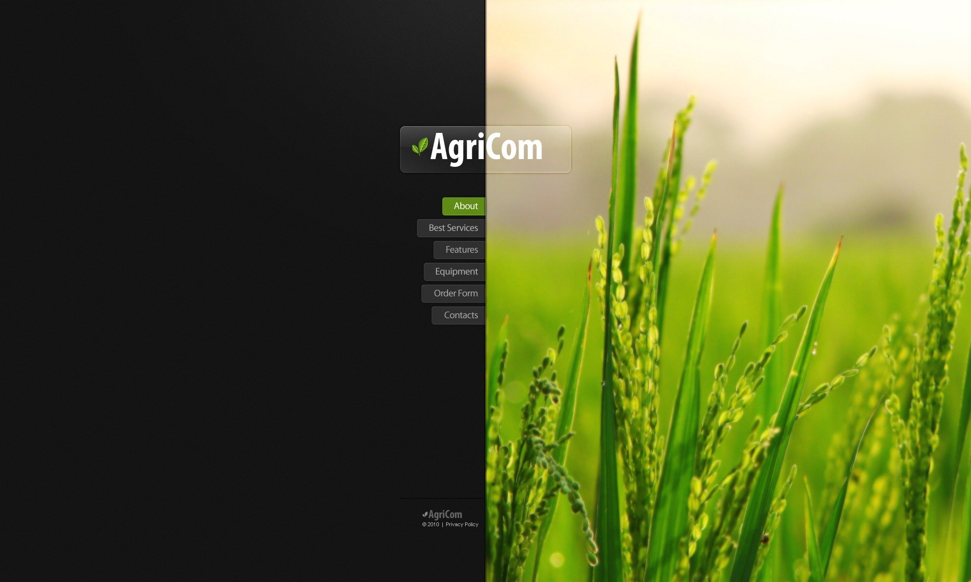 The Agricom Agriculture Company PSD Design 54483, one of the best PSD templates of its kind (agriculture, wide), also known as agricom agriculture company PSD template, business PSD template, grain-crops PSD template, cereals PSD template, field PSD template, combine PSD template, harvest PSD template, farming PSD template, plants PSD template, services PSD template, products solutions PSD template, market PSD template, delivery PSD template, resource PSD template, grassland PSD template, equipment PSD template, nitrates PSD template, fertilizer PSD template, clients PSD template, partners PSD template, innovations PSD template, support PSD template, information dealer PSD template, stocks PSD template, team and related with agricom agriculture company, business, grain-crops, cereals, field, combine, harvest, farming, plants, services, products solutions, market, delivery, resource, grassland, equipment, nitrates, fertilizer, clients, partners, innovations, support, information dealer, stocks, team, etc.