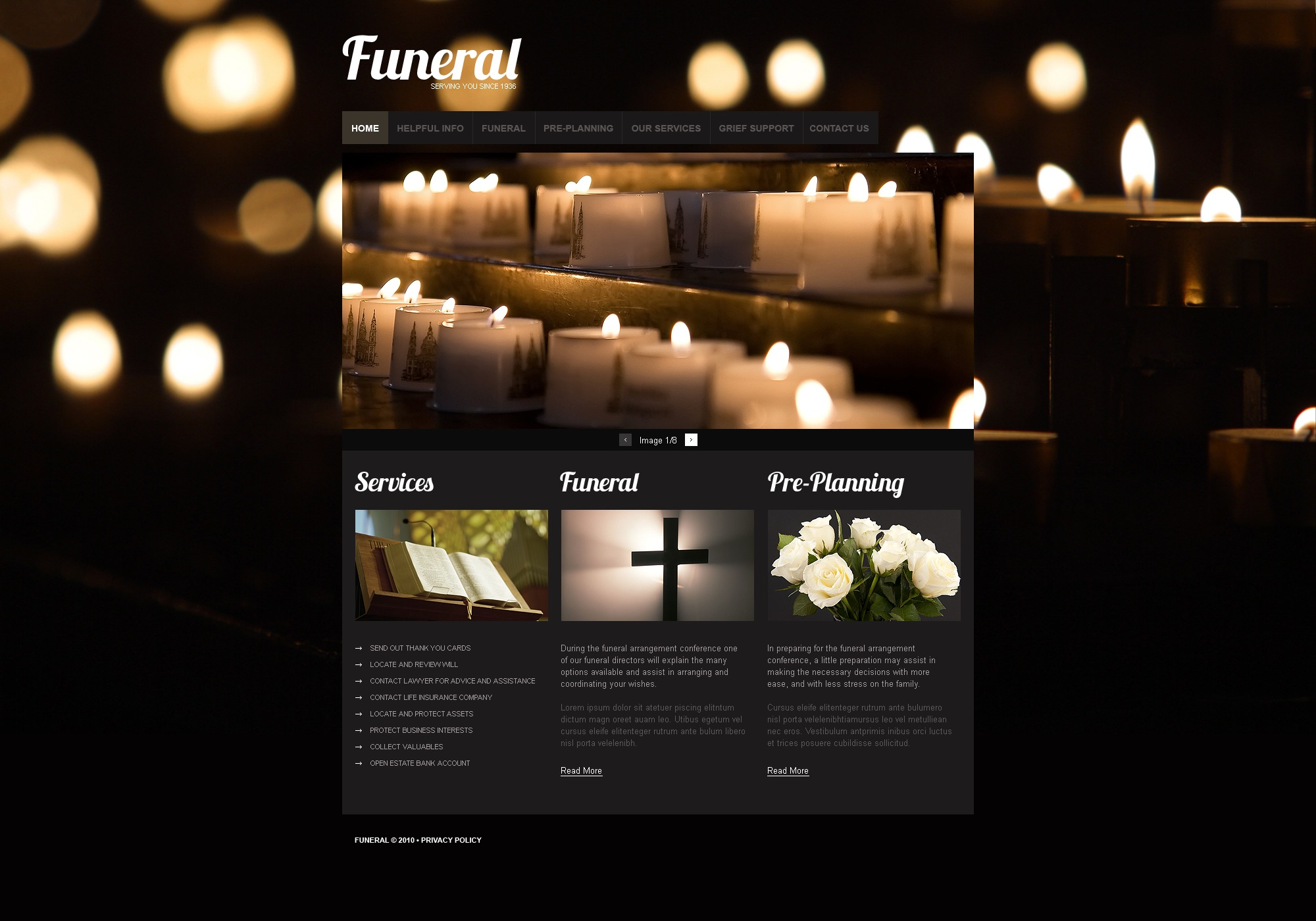 The Funeral Company PSD Design 54489, one of the best PSD templates of its kind (society & culture, most popular, wide, jquery), also known as funeral company PSD template, services PSD template, casket PSD template, urn PSD template, special coffin PSD template, grave PSD template, metal PSD template, inner PSD template, boxes PSD template, burial PSD template, funeral PSD template, train PSD template, undertaker PSD template, office PSD template, knell PSD template, dead PSD template, march PSD template, memorial PSD template, tombstone PSD template, flowers PSD template, wreath PSD template, organization PSD template, decorations PSD template, crosses PSD template, obituary PSD template, notice PSD template, equipment and related with funeral company, services, casket, urn, special coffin, grave, metal, inner, boxes, burial, funeral, train, undertaker, office, knell, dead, march, memorial, tombstone, flowers, wreath, organization, decorations, crosses, obituary, notice, equipment, etc.