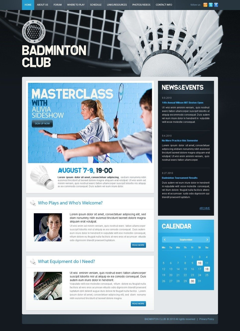 Badminton PSD Template New Screenshots BIG