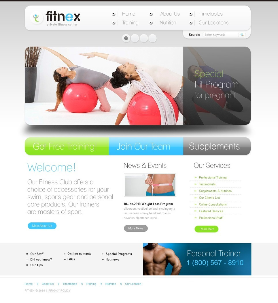 Fitness PSD Template New Screenshots BIG