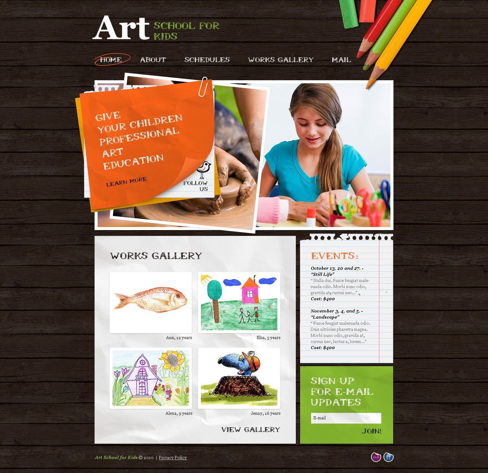 The School Art PSD Design 54505, one of the best PSD templates of its kind (art & photography, education, most popular, wide), also known as school art PSD template, paint PSD template, brush PSD template, painter PSD template, painting PSD template, artist PSD template, works PSD template, program PSD template, learn PSD template, teach PSD template, tuition PSD template, child PSD template, children PSD template, kids PSD template, class and related with school art, paint, brush, painter, painting, artist, works, program, learn, teach, tuition, child, children, kids, class, etc.