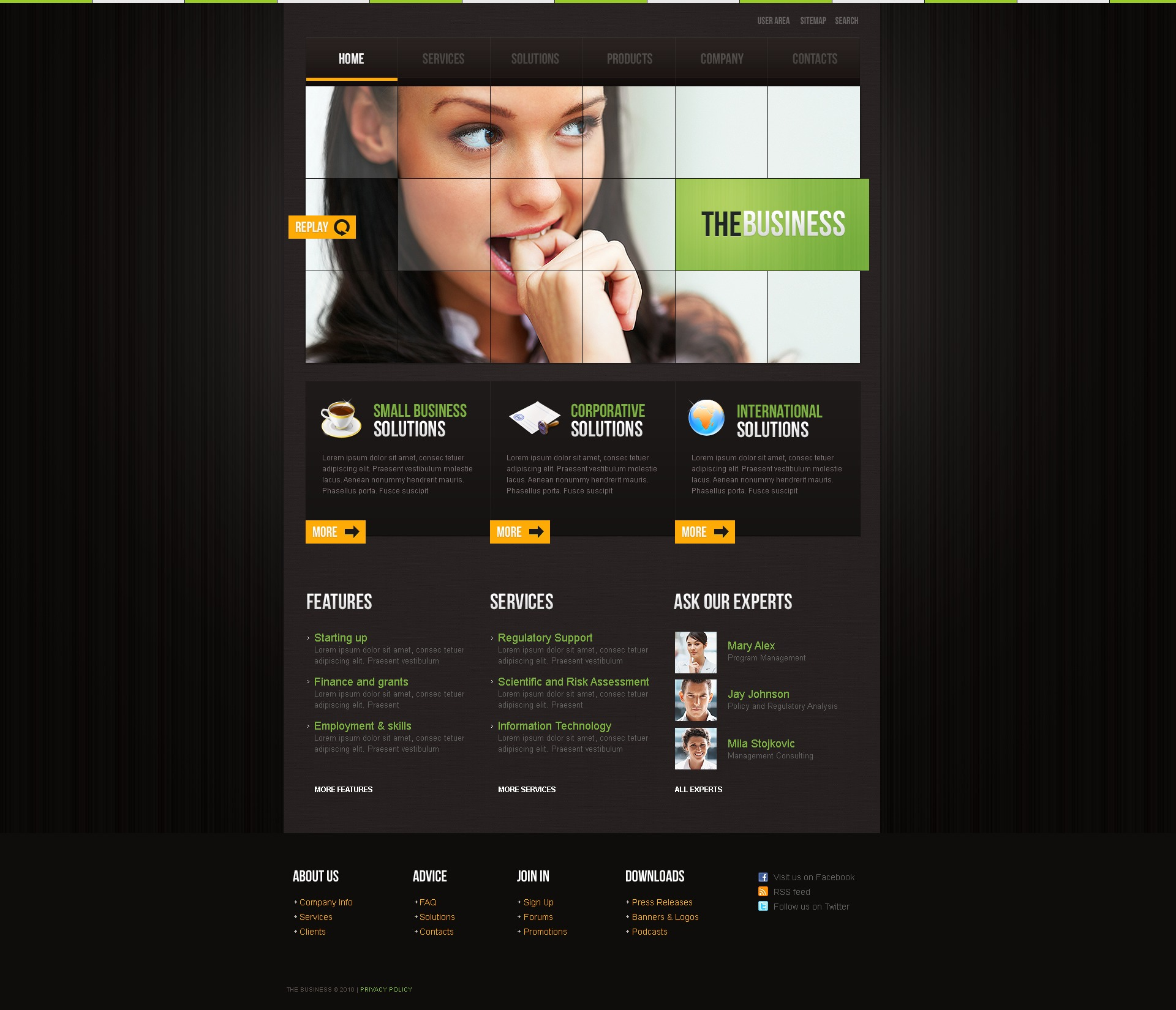 The The Business Company PSD Design 54510, one of the best PSD templates of its kind (business, flash 8, wide), also known as the business company PSD template, corporate solutions PSD template, innovations PSD template, contacts PSD template, service PSD template, support PSD template, information dealer PSD template, stocks PSD template, team PSD template, success PSD template, money PSD template, marketing PSD template, director PSD template, manager PSD template, analytics PSD template, planning PSD template, limited PSD template, office PSD template, sales and related with the business company, corporate solutions, innovations, contacts, service, support, information dealer, stocks, team, success, money, marketing, director, manager, analytics, planning, limited, office, sales, etc.