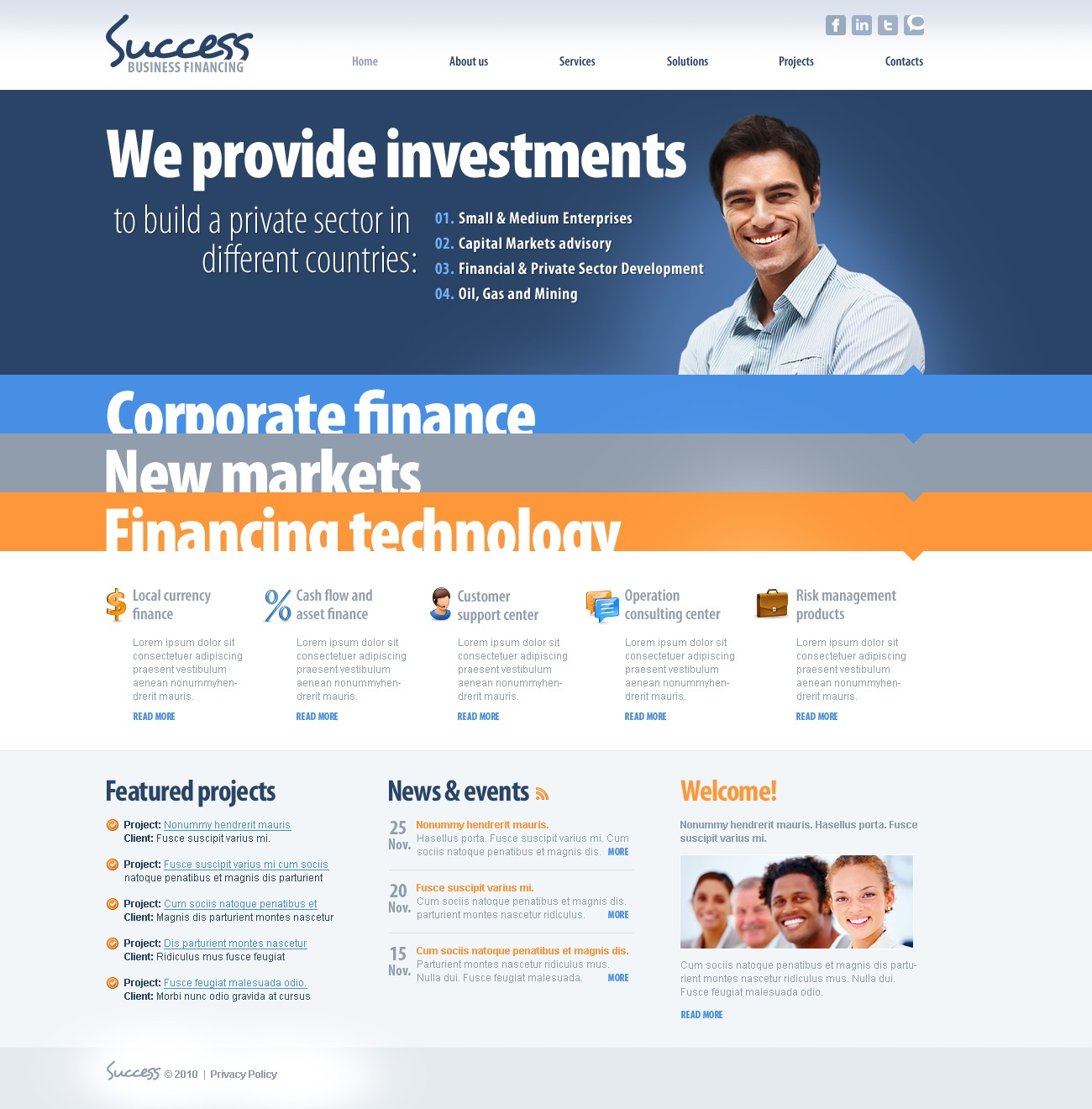 The Success Business Company PSD Design 54514, one of the best PSD templates of its kind (business, wide, jquery), also known as success business company PSD template, corporate solutions PSD template, innovations PSD template, contacts PSD template, service PSD template, support PSD template, information dealer PSD template, stocks PSD template, team PSD template, success PSD template, money PSD template, marketing PSD template, director PSD template, manager PSD template, analytics PSD template, planning PSD template, limited PSD template, office PSD template, sales and related with success business company, corporate solutions, innovations, contacts, service, support, information dealer, stocks, team, success, money, marketing, director, manager, analytics, planning, limited, office, sales, etc.