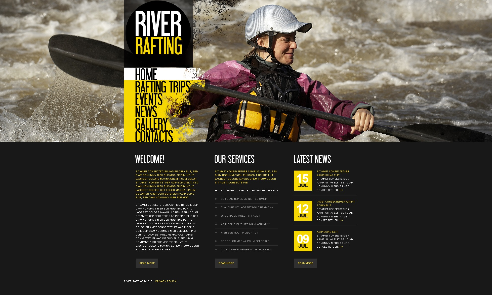 The River Rafting PSD Design 54520, one of the best PSD templates of its kind (sport, flash 8, wide), also known as river rafting PSD template, sport PSD template, boat PSD template, extreme PSD template, adventure PSD template, canoe PSD template, kayak PSD template, water PSD template, paddle and related with river rafting, sport, boat, extreme, adventure, canoe, kayak, water, paddle, etc.