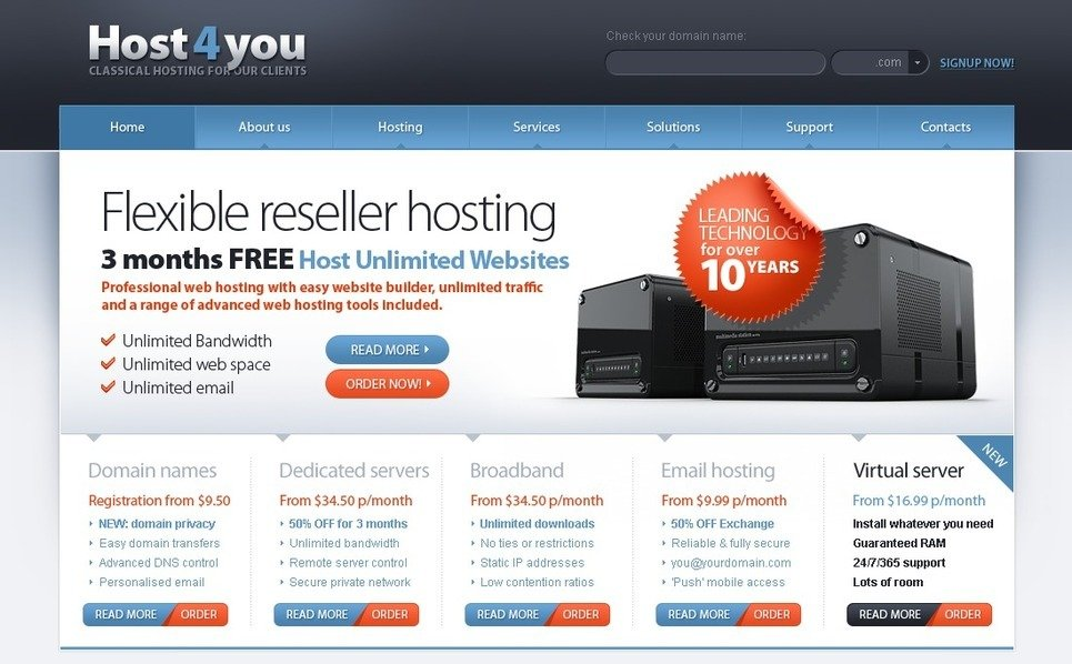 Plantilla PSD #54524 para Sitio de Hosting New Screenshots BIG