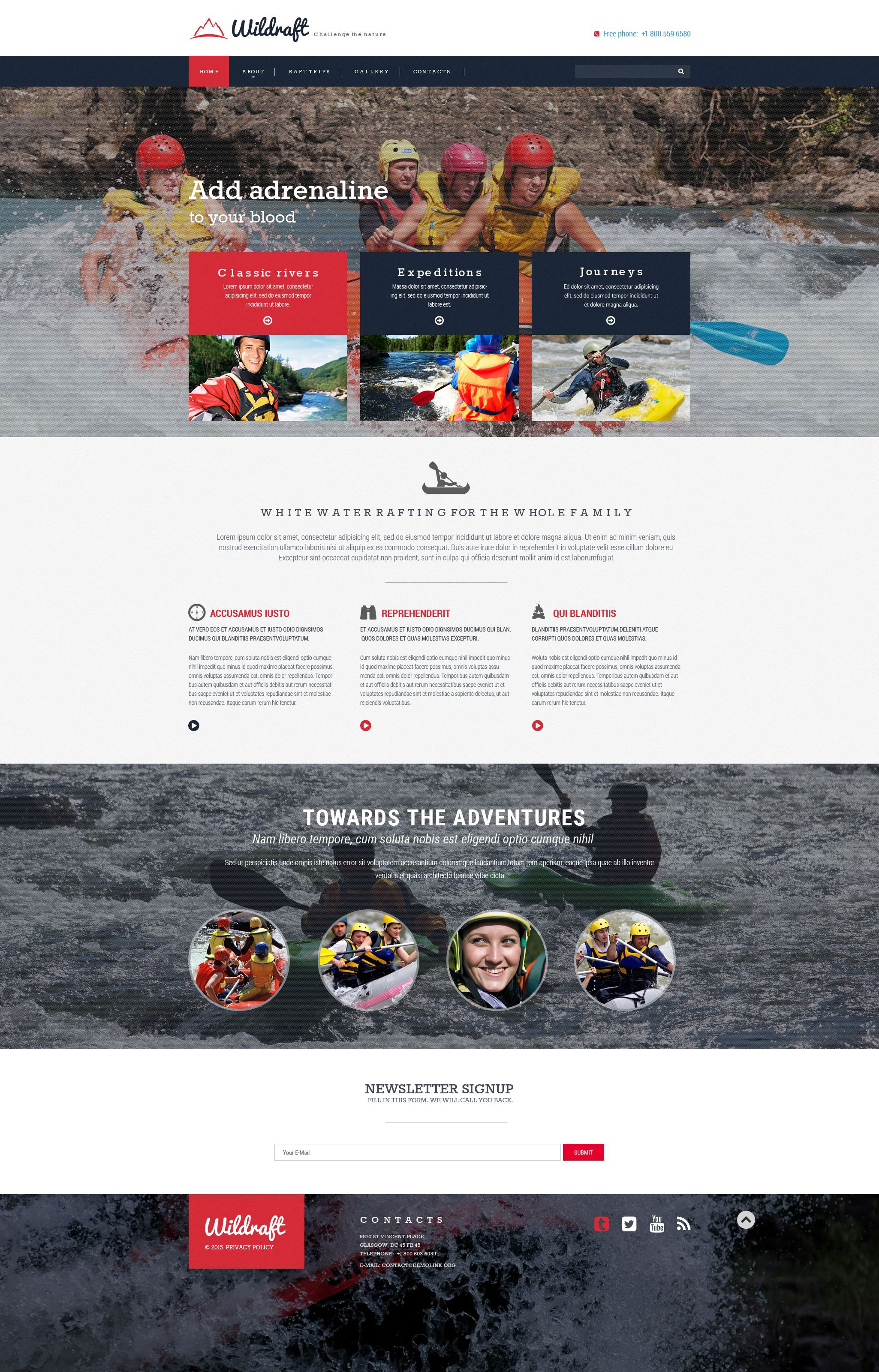 The Wildraft Rafting Sport Bootstrap Design 54542, one of the best website templates of its kind (sport, most popular), also known as Wildraft rafting sport website template, boat website template, extreme website template, adventure website template, canoe website template, kayak website template, water website template, paddle and related with Wildraft rafting sport, boat, extreme, adventure, canoe, kayak, water, paddle, etc.