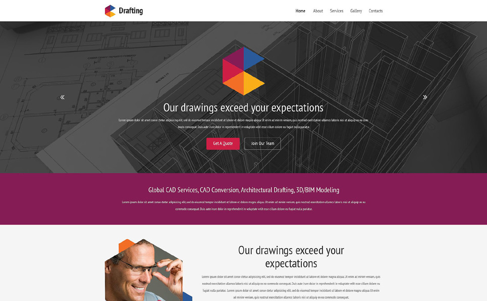 Responsive Website template over Drafting  New Screenshots BIG