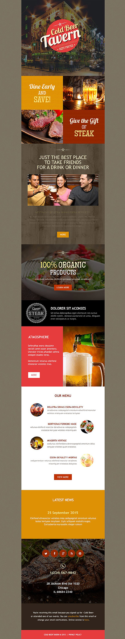 cafe restaurant newsletter template 54588 newsletter templates
