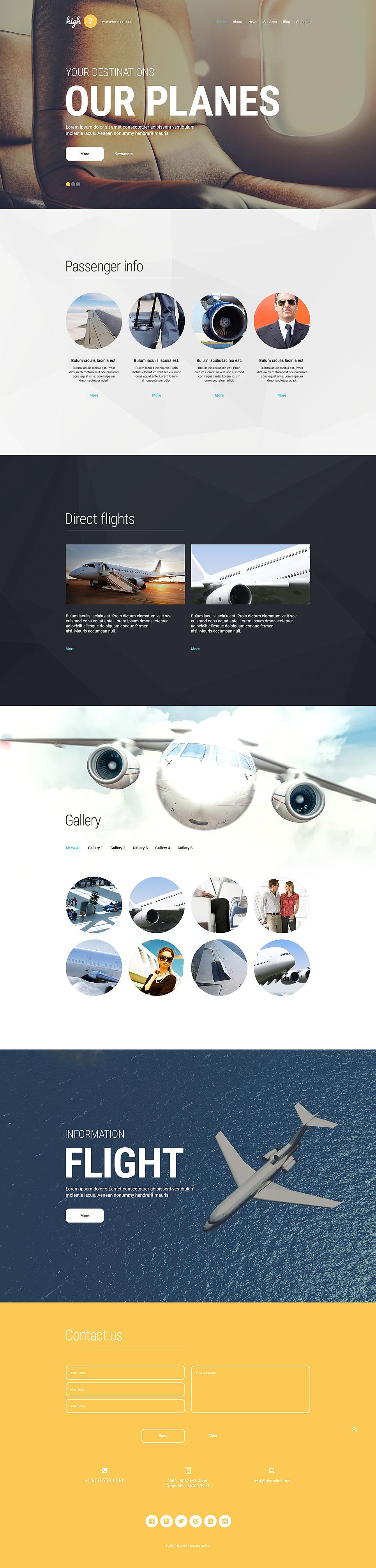 Адаптивный шаблон сайта на тему частные авиалинии #54576