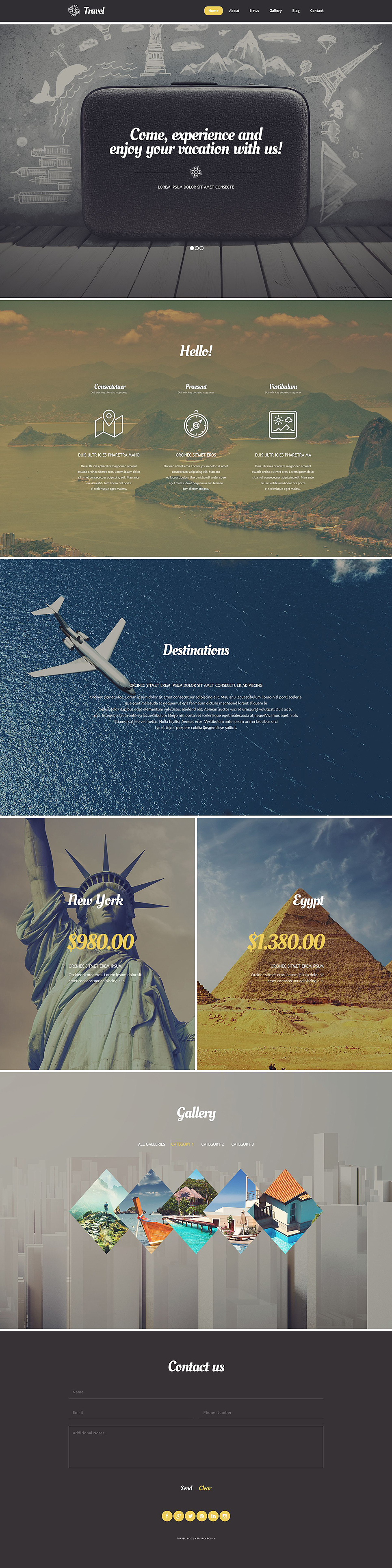 Адаптивный шаблон сайта на тему агентство путешествий #54580