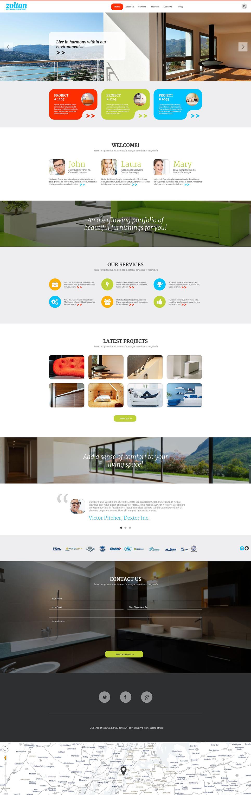 Адаптивный шаблон сайта на тему дизайн и интерьер #54582