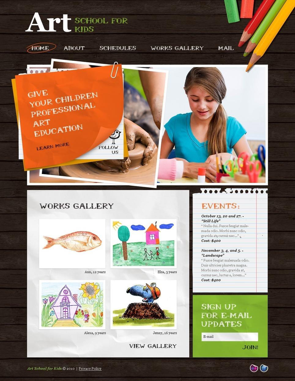Art School PSD Template New Screenshots BIG