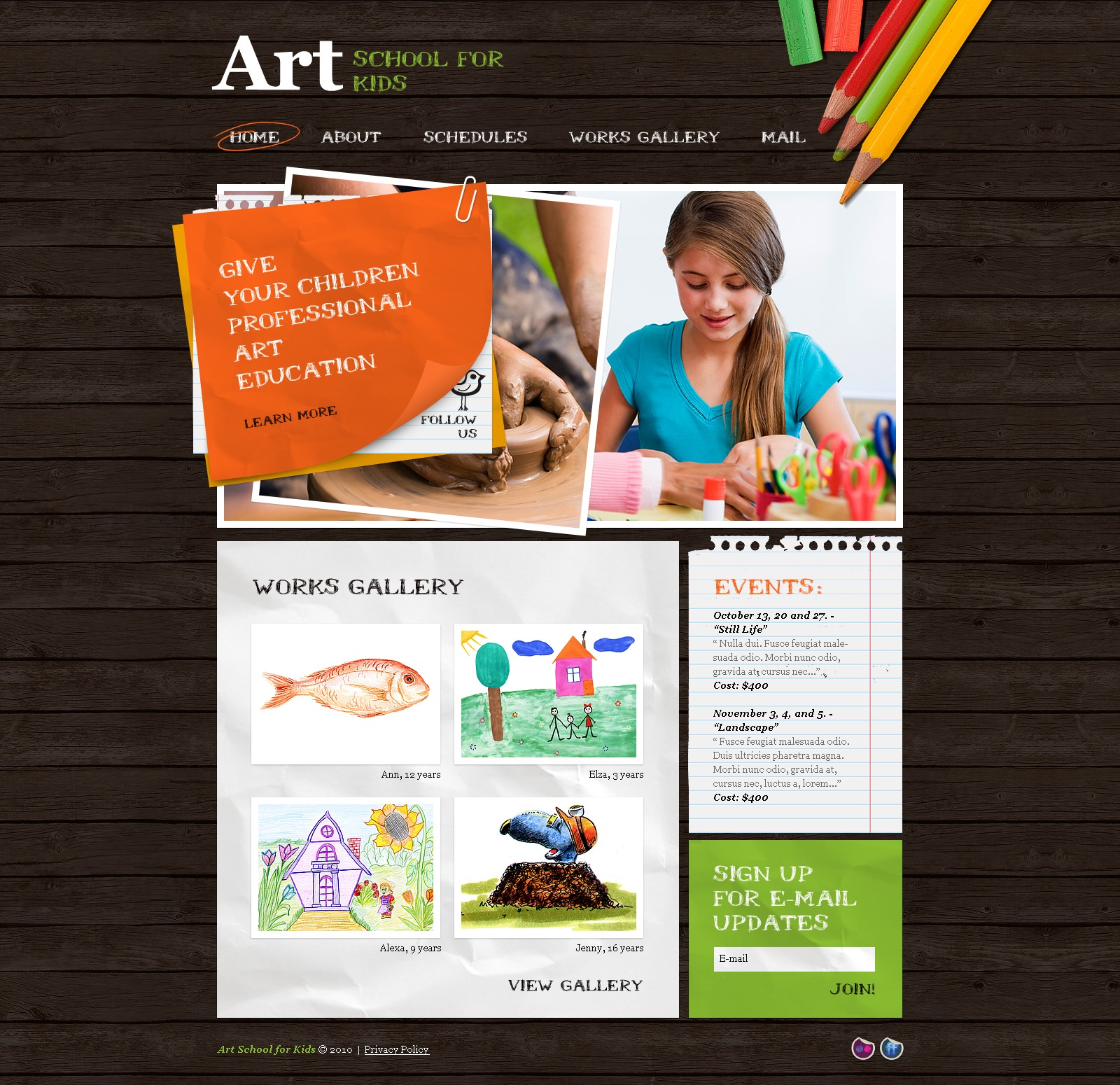 Art school psd template 54505 art school psd template pronofoot35fo Images
