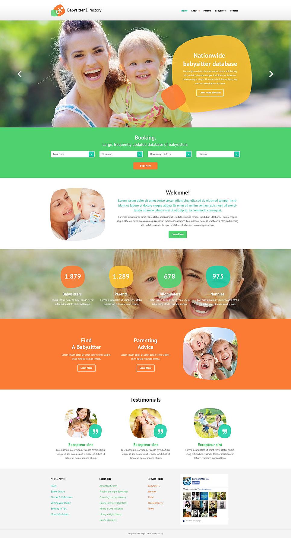 babysitting website template