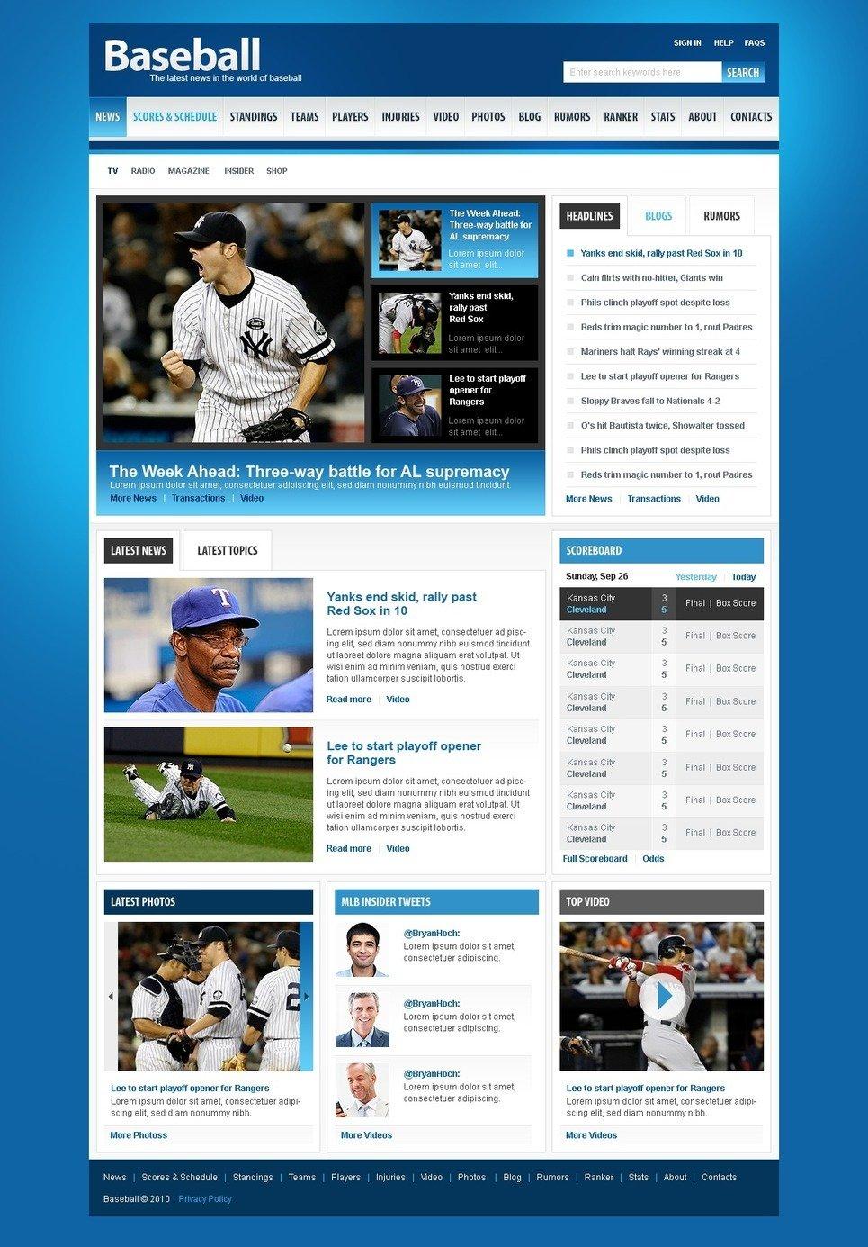 Baseball PSD Template New Screenshots BIG