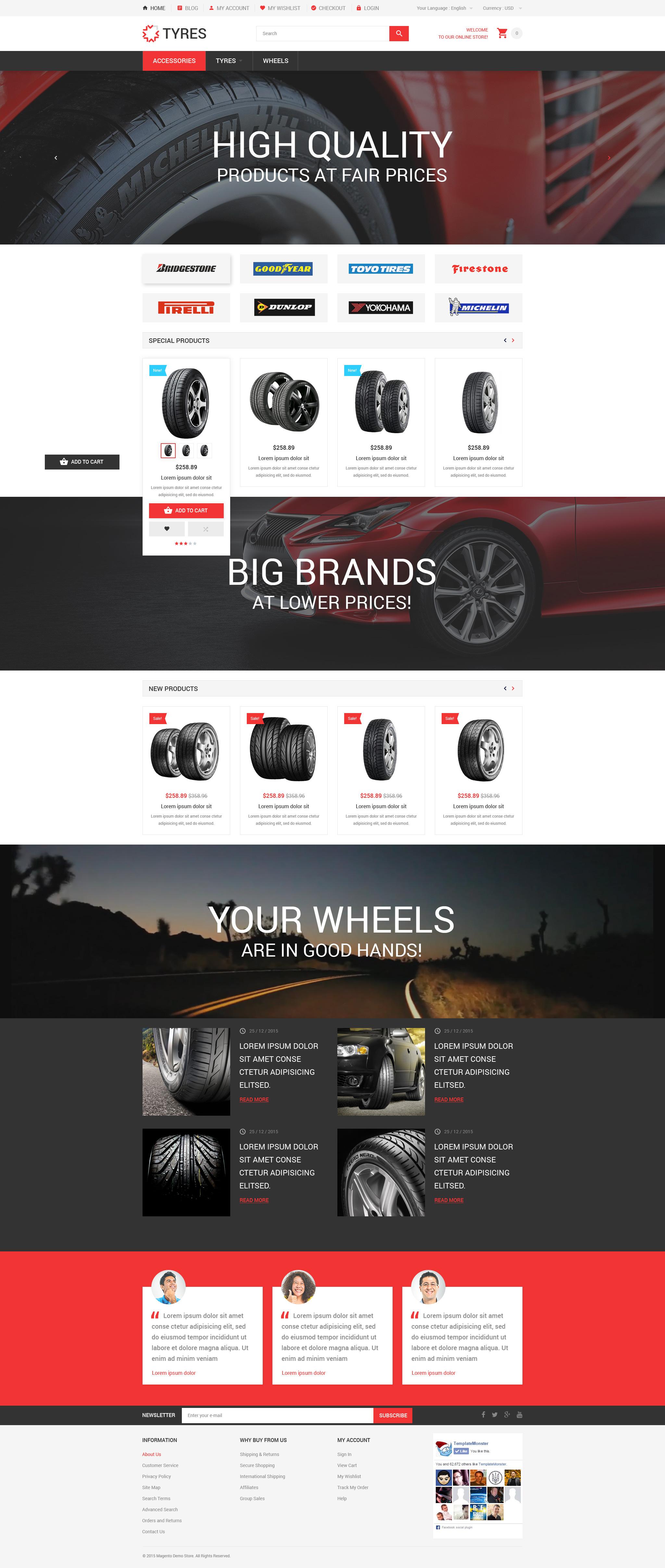 """Car Wheels Online Store"" thème Magento adaptatif #54541"