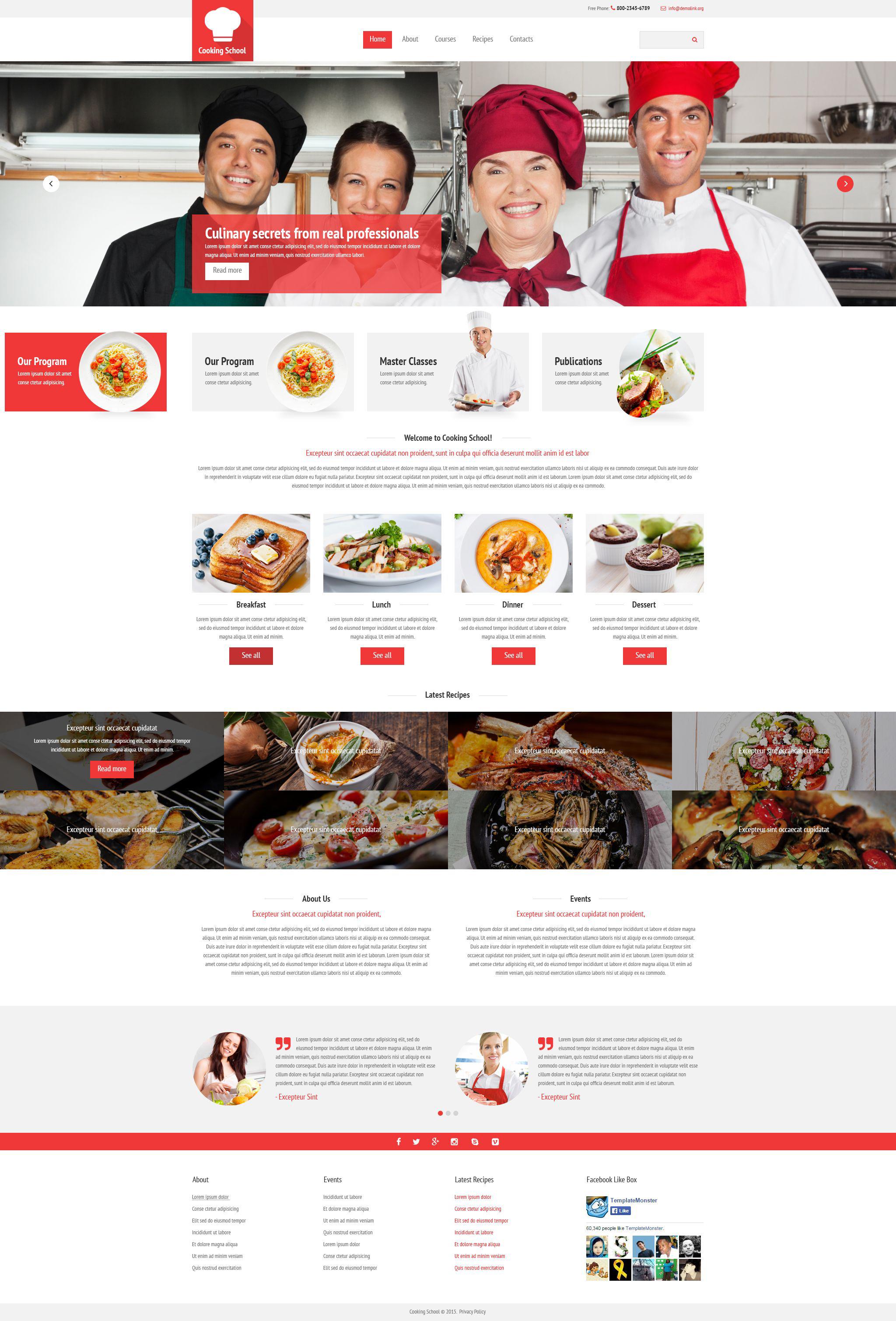 modello siti web responsive 54545 per un sito di scuola di cucina