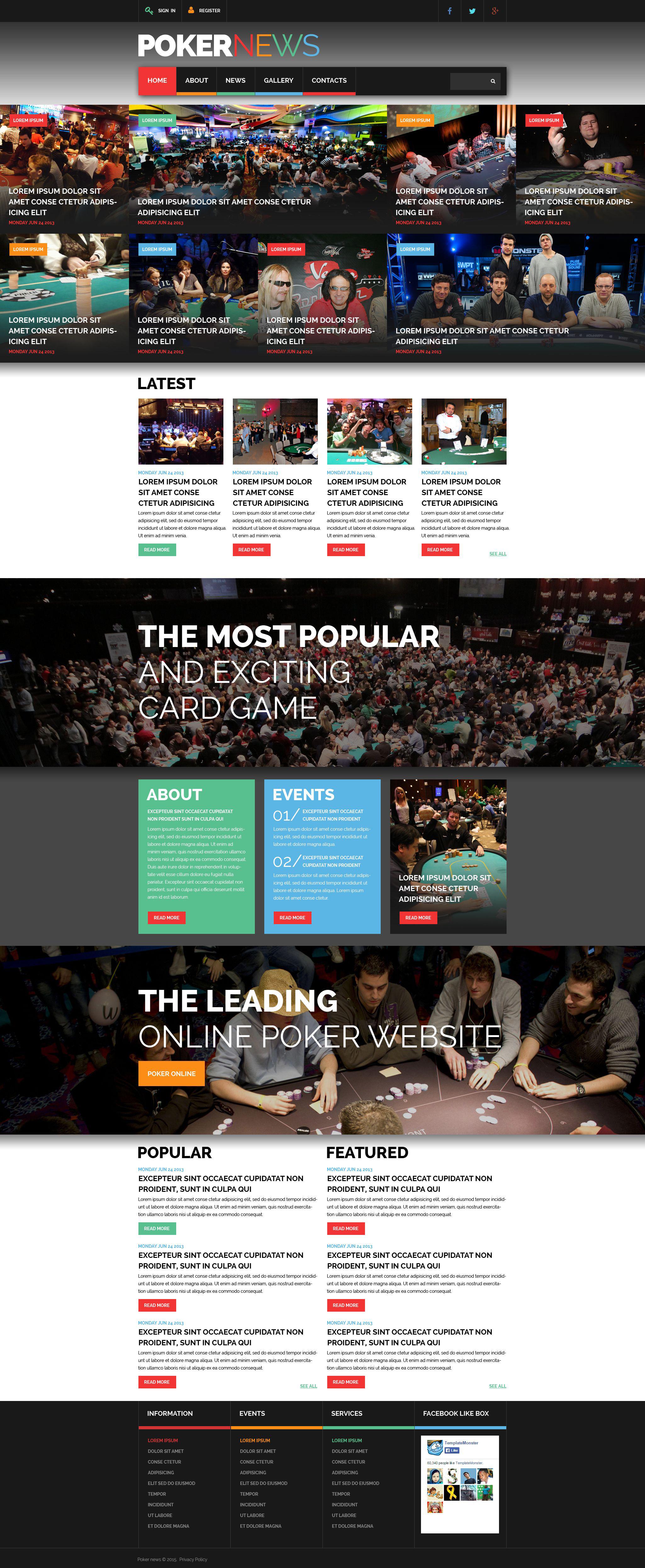 Online Poker Responsive Website Template